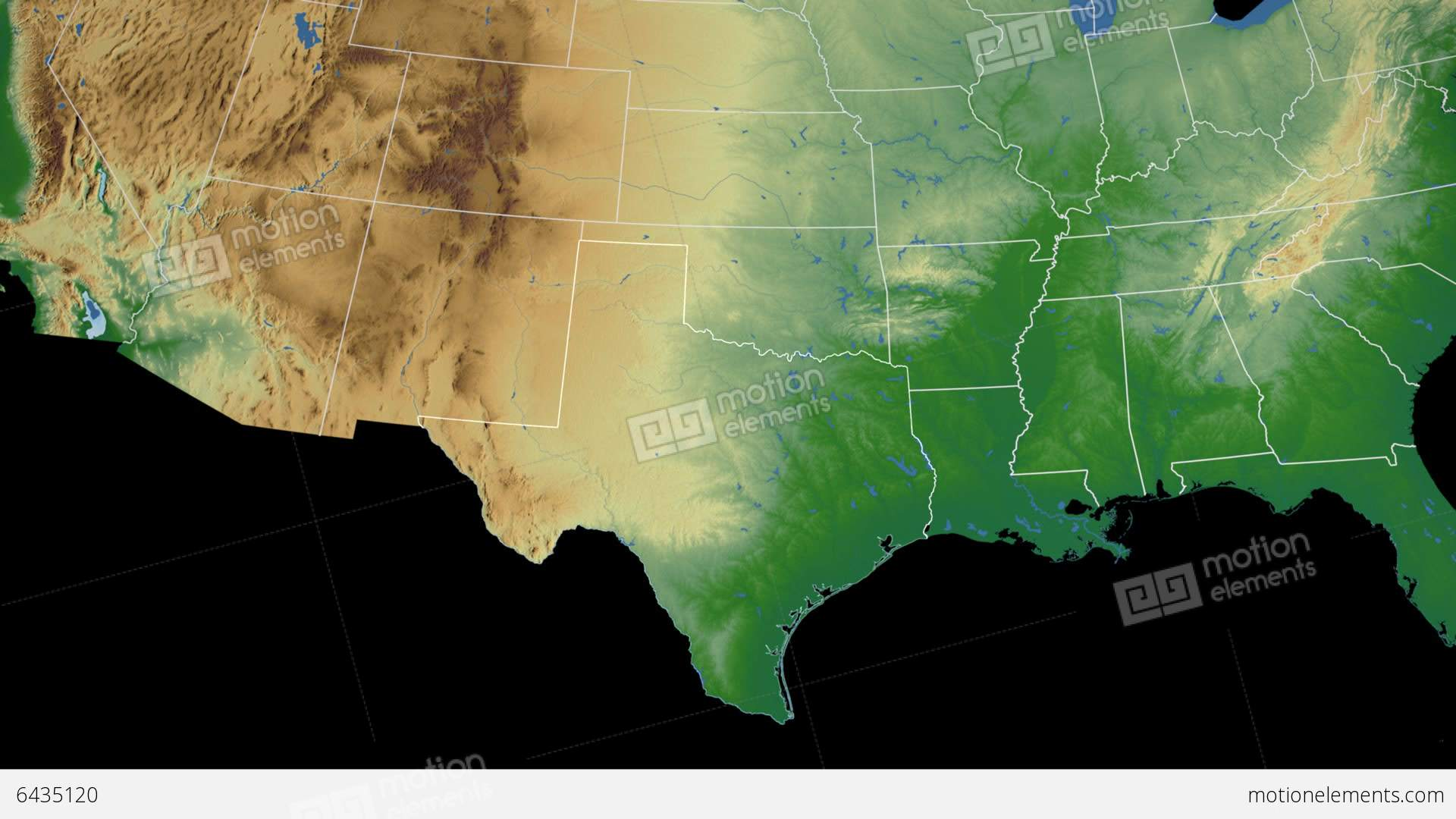 Texas State USA Extruded On The Physical Map Of Stock Animation - Texas state usa map
