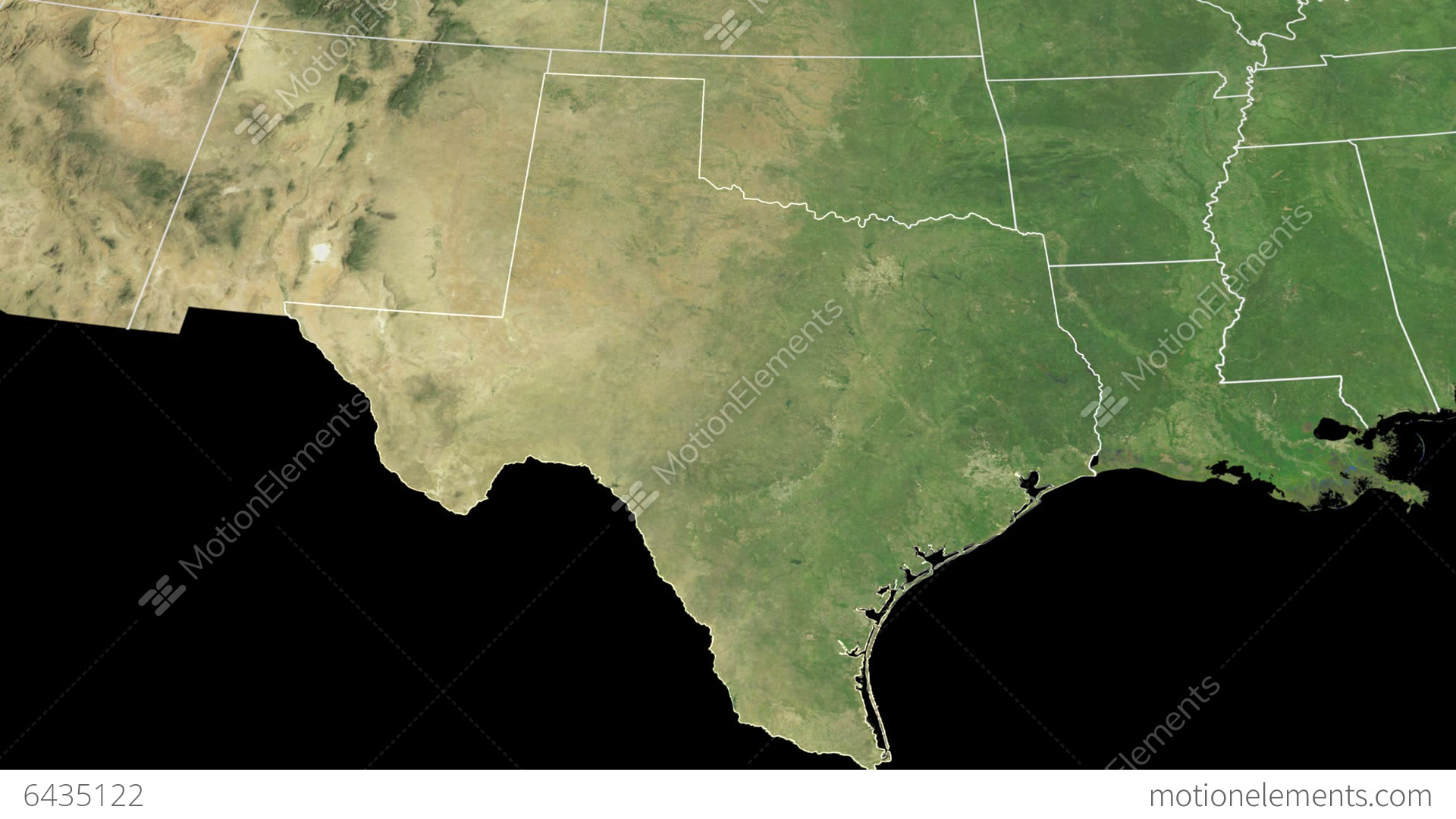 Texas State USA Extruded On The Satellite Map Of Stock Animation