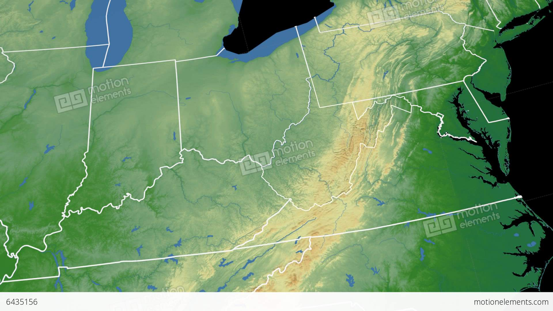 West Virginia State USA Extruded On The Physical Stock Animation - Usa map west virginia