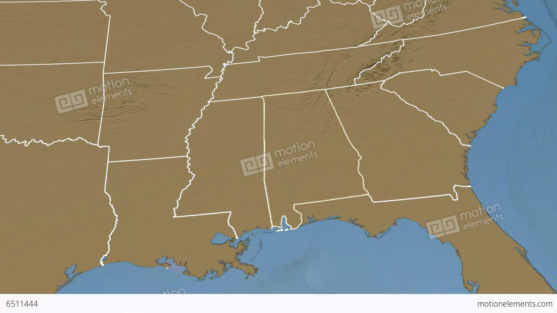 Alabama State Usa Extruded Elevation Map Stock Animation 6511444