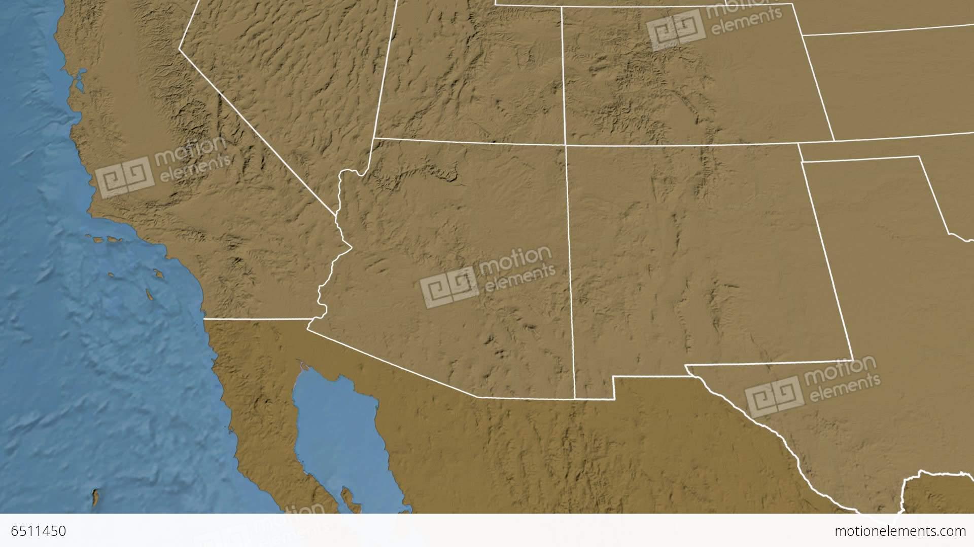 Arizona State (USA) Extruded. Elevation Map Stock Animation | 6511450