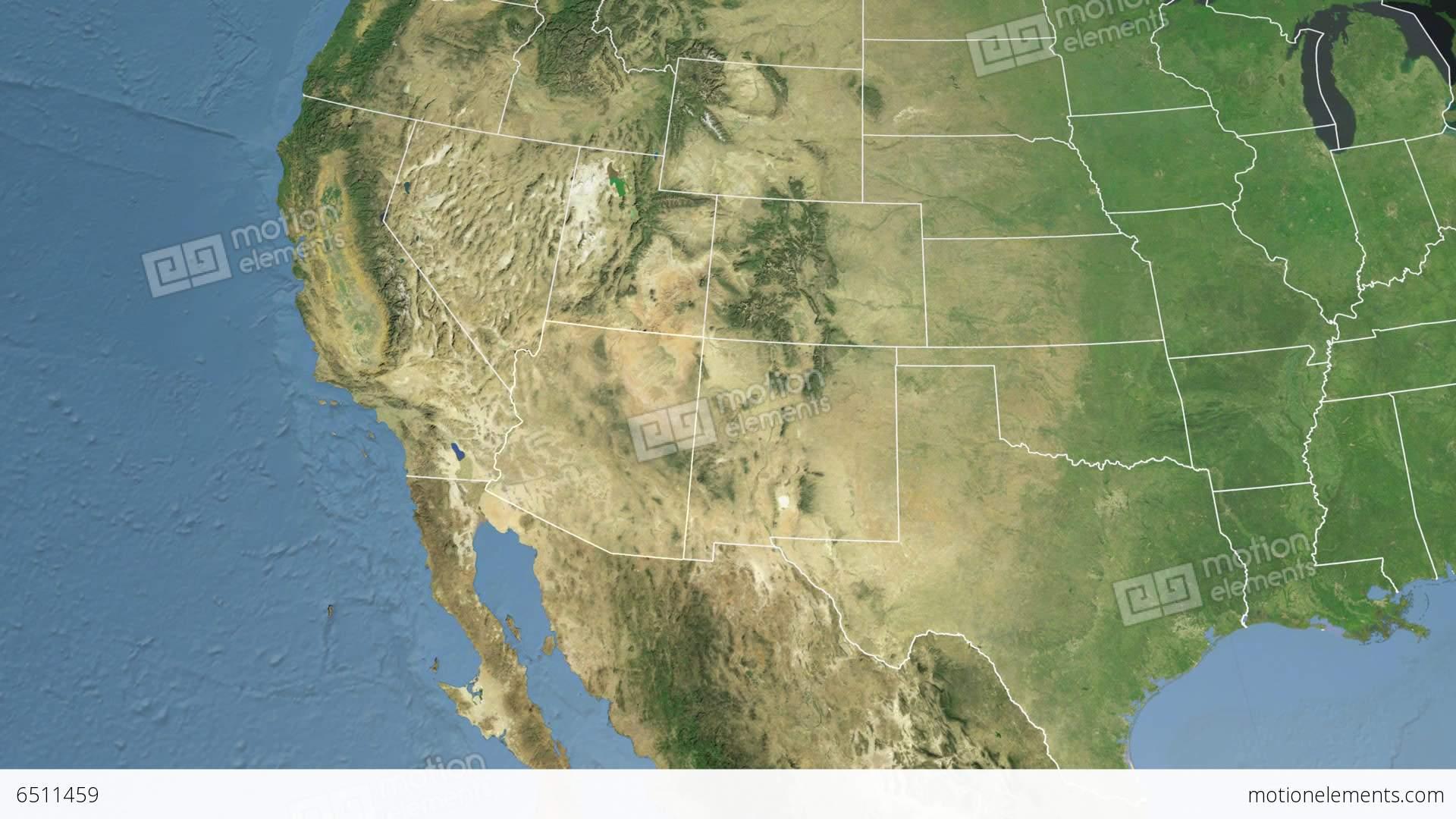 Arizona State USA Extruded Satellite Map Stock Animation - Satellite map of usa