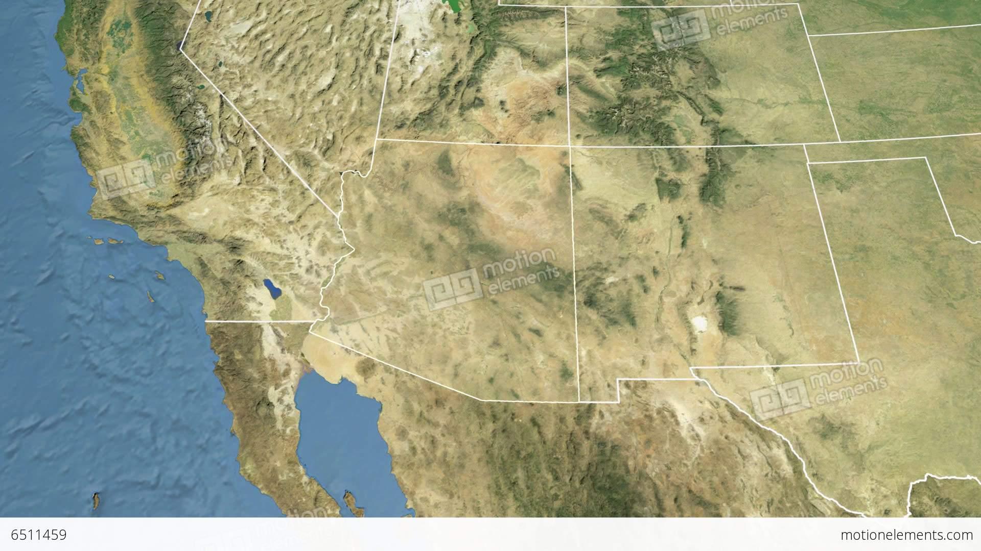 Arizona State USA Extruded Satellite Map Stock Animation - Arizona state in usa map