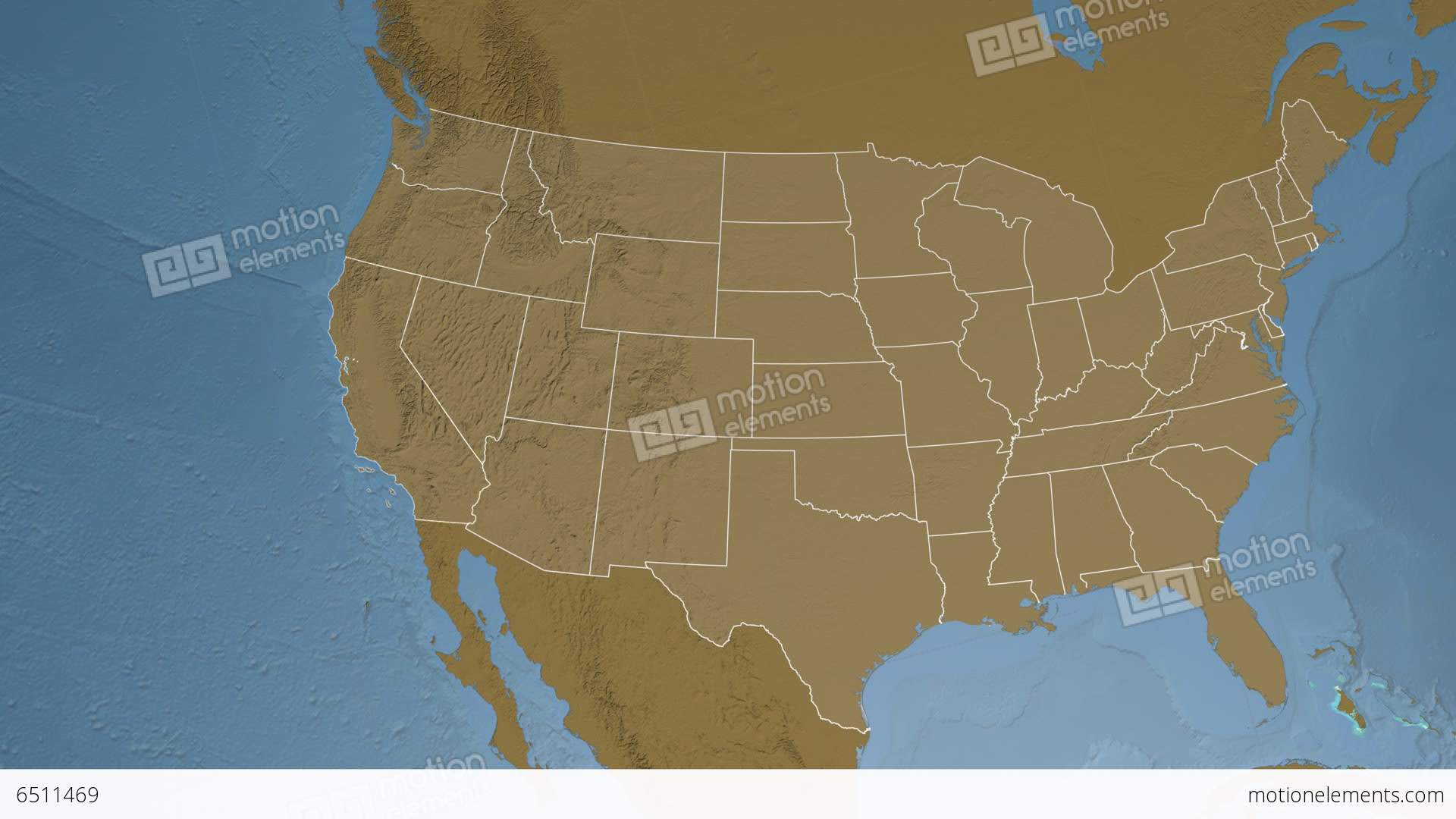 California State Usa Extruded Elevation Map Stock Animation 6511469