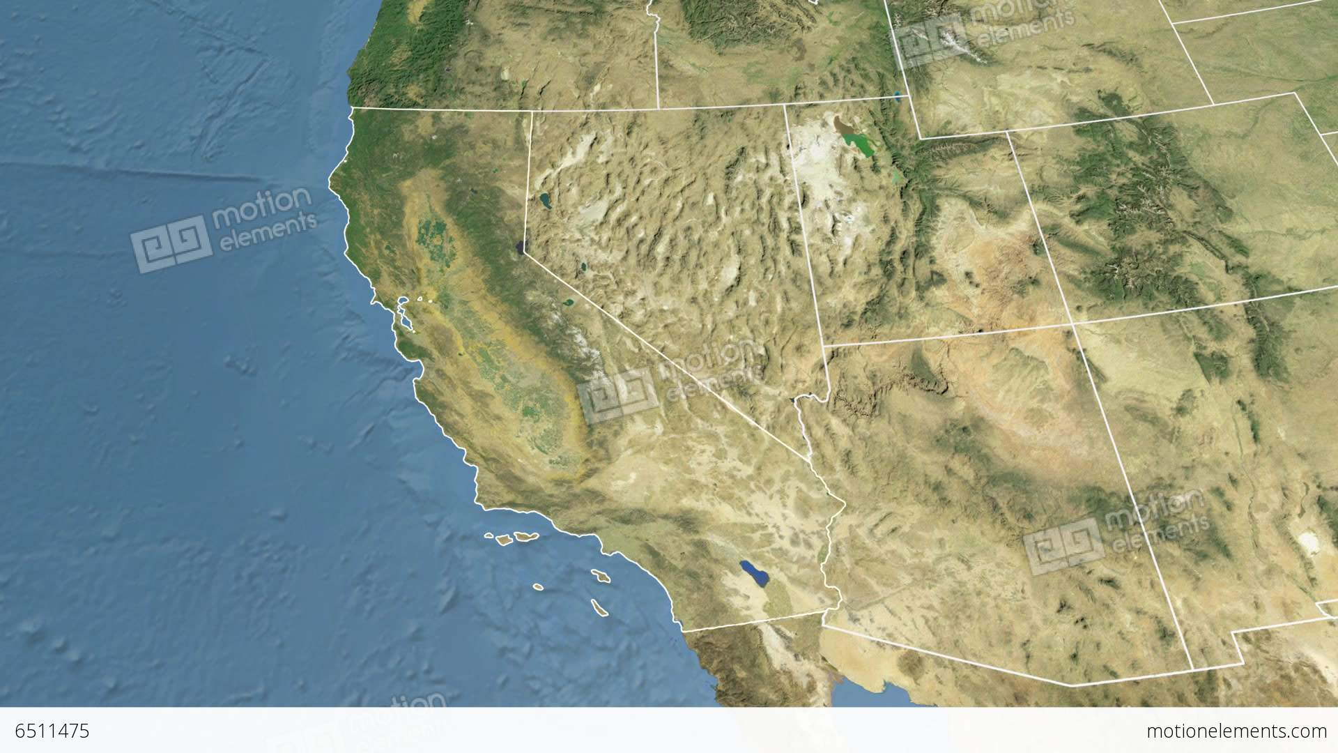 California State USA Extruded Satellite Map Stock Animation - Satellite map of usa