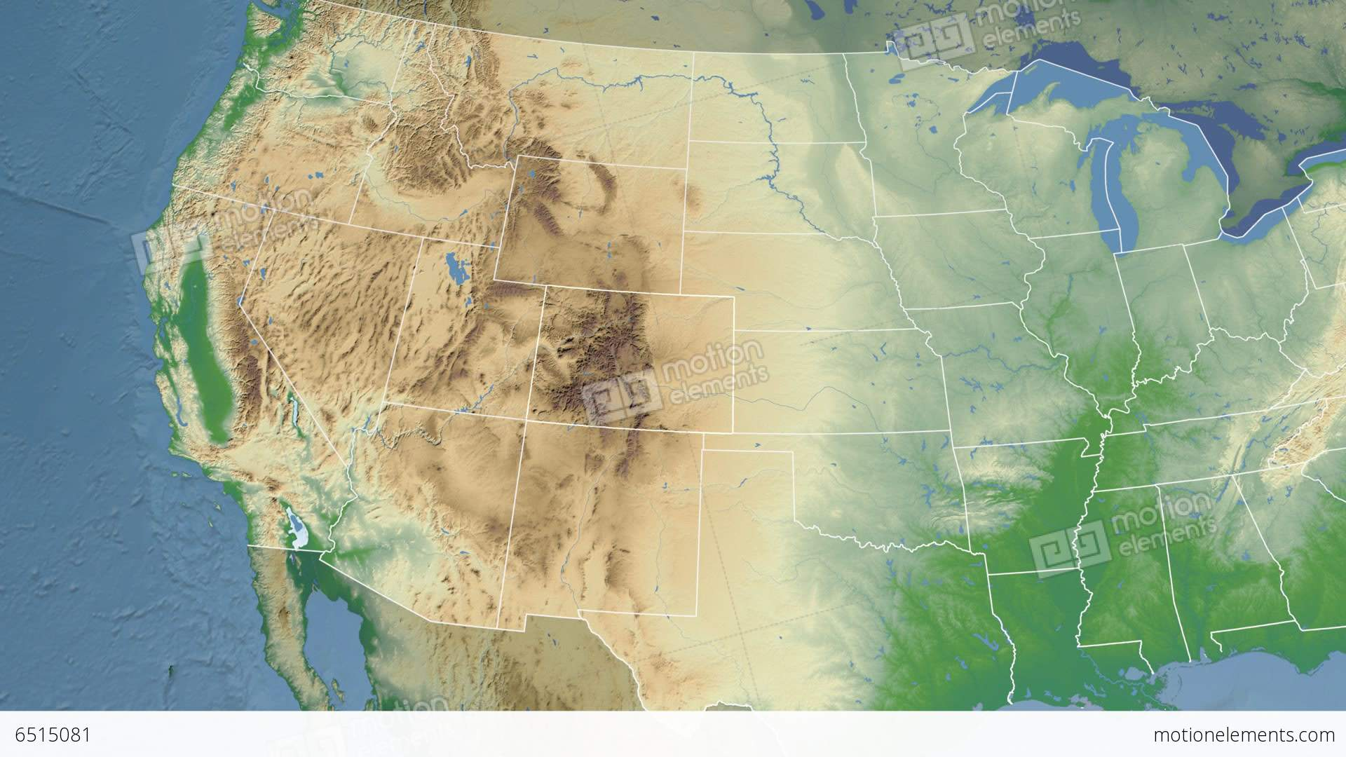 Colorado State (USA) Extruded. Physical Map Stock Animation | 6515081
