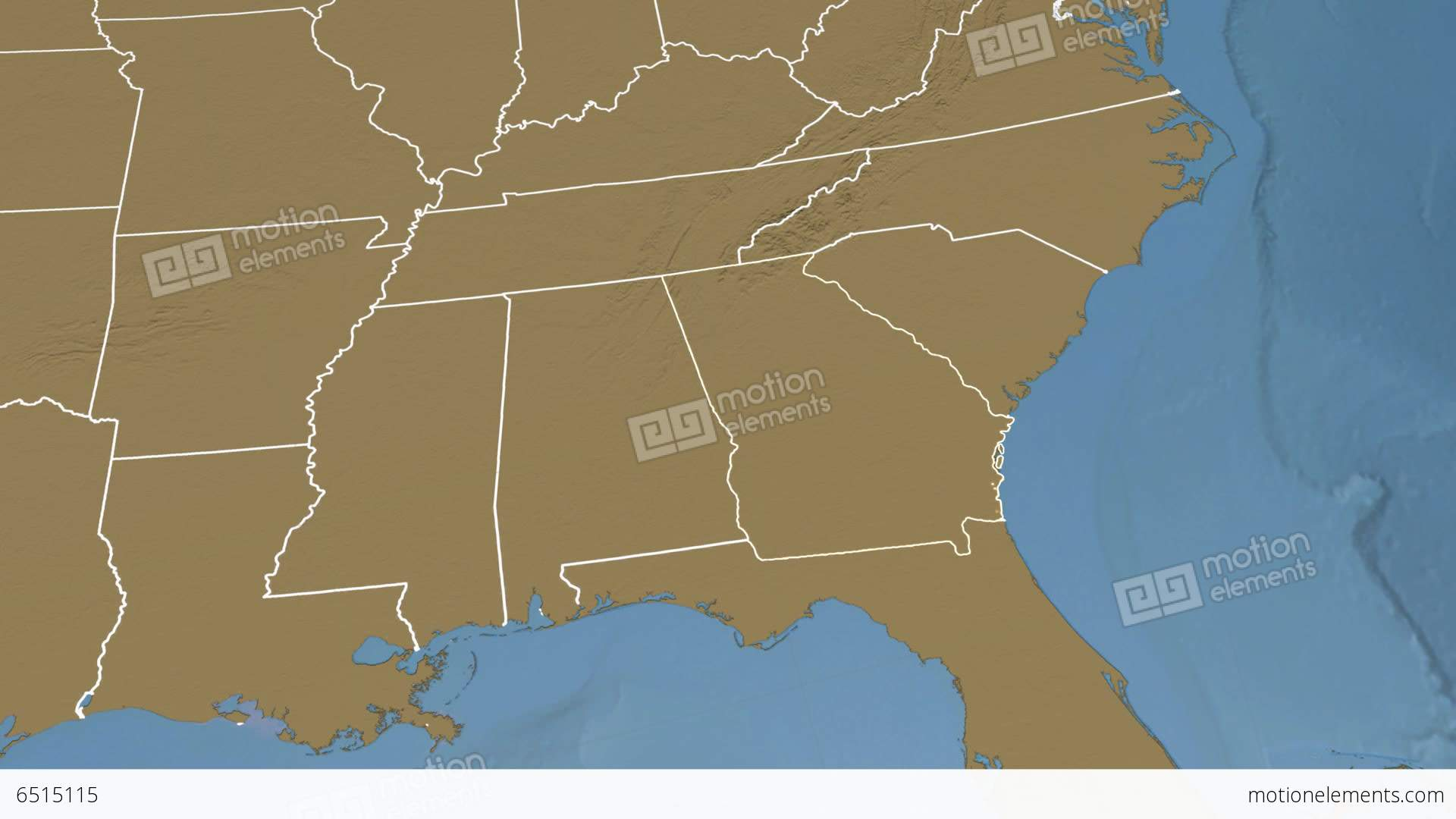 Georgia State Usa Extruded Elevation Map Stock Animation 6515115