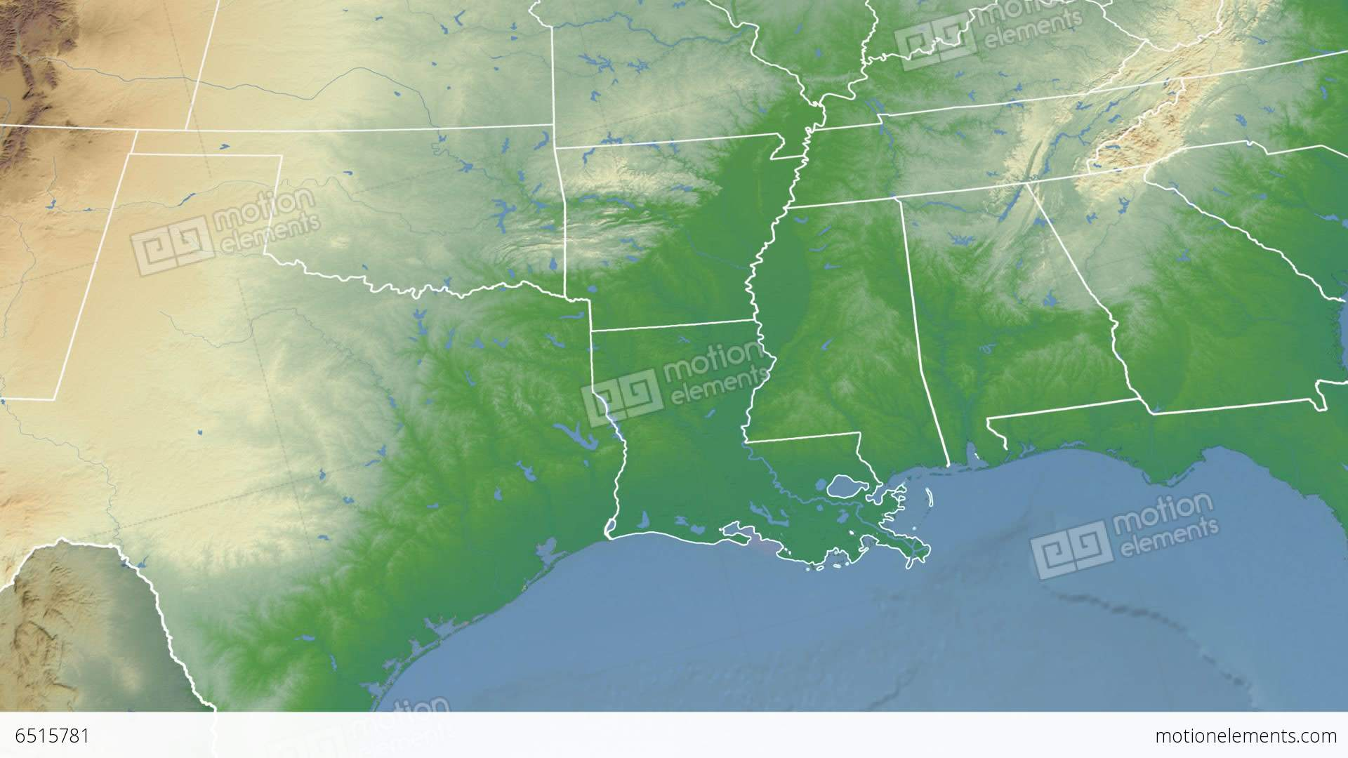 Louisiana State Usa Extruded Physical Map Stock Animation 6515781