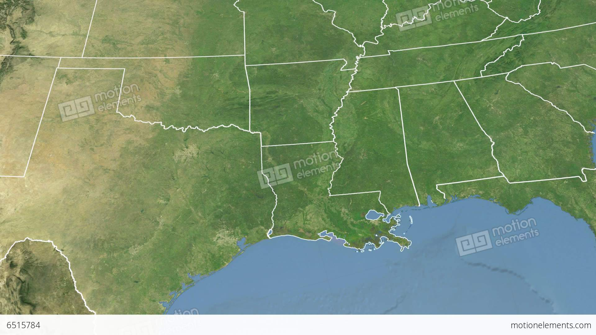 Louisiana State Usa Extruded Satellite Map Stock Animation 6515784