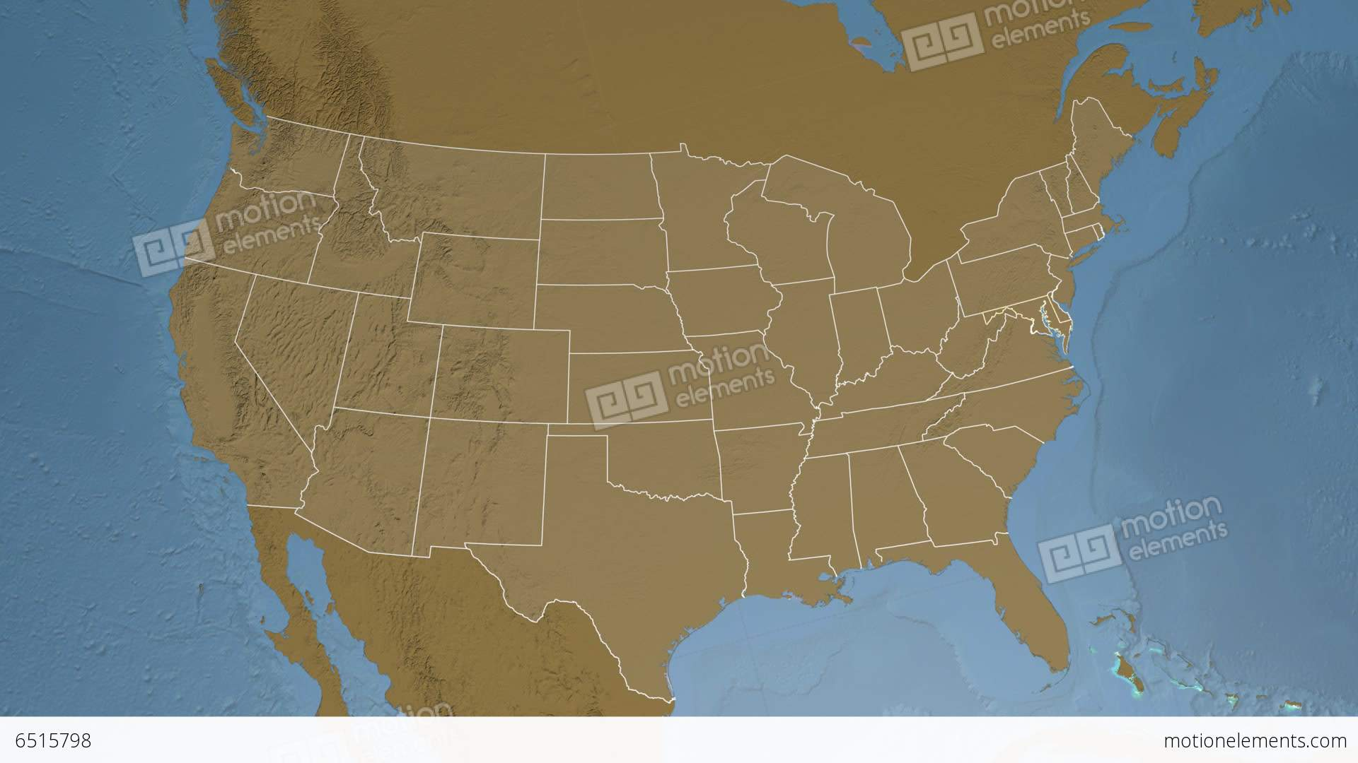 Maryland State Usa Extruded Elevation Map Stock Animation 6515798
