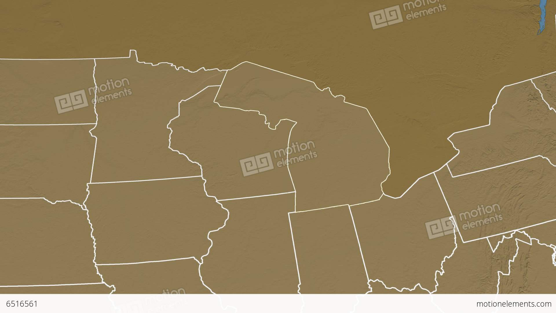 Michigan State USA Extruded Elevation Map Stock Animation - Michigan state usa map