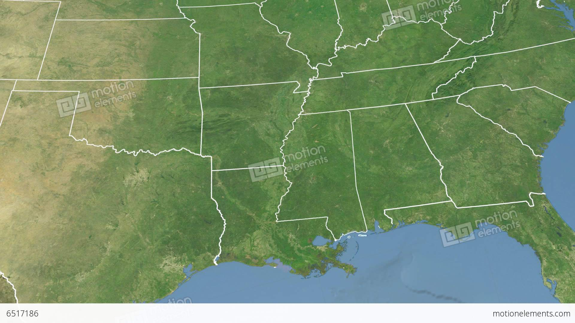 Mississippi State USA Extruded Satellite Map Stock Animation - Mississippi state map usa
