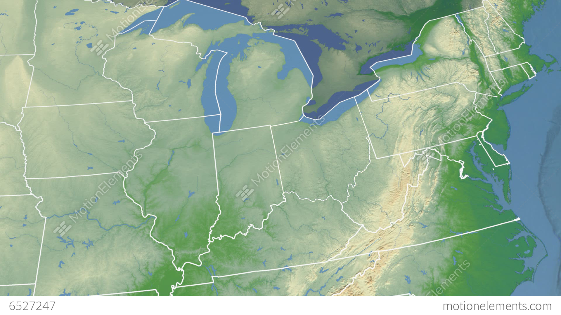 Ohio State USA Extruded Physical Map Stock Animation - Ohio physical map