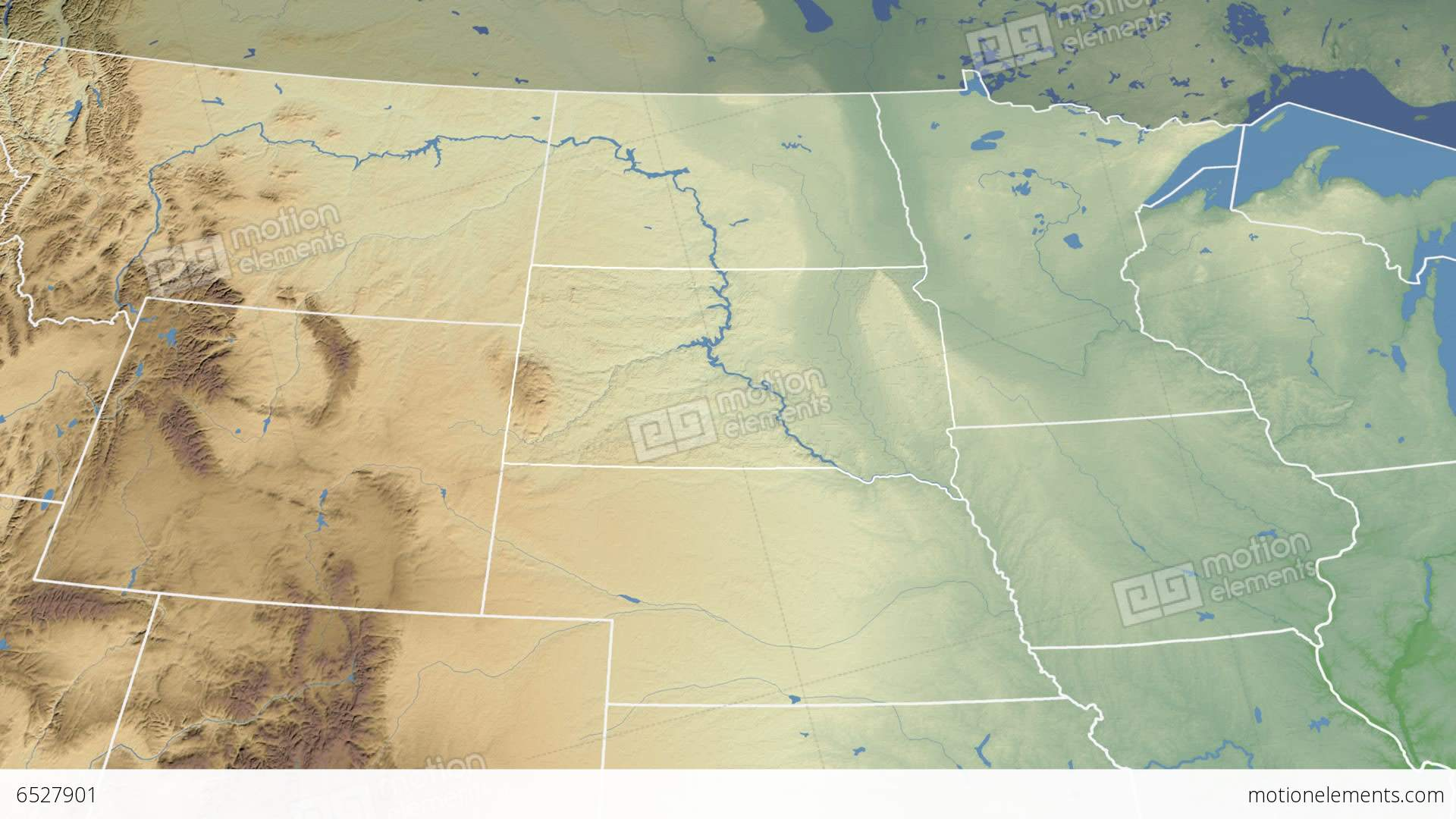 South Dakota State USA Extruded Physical Map Stock Animation - South dakota physical map