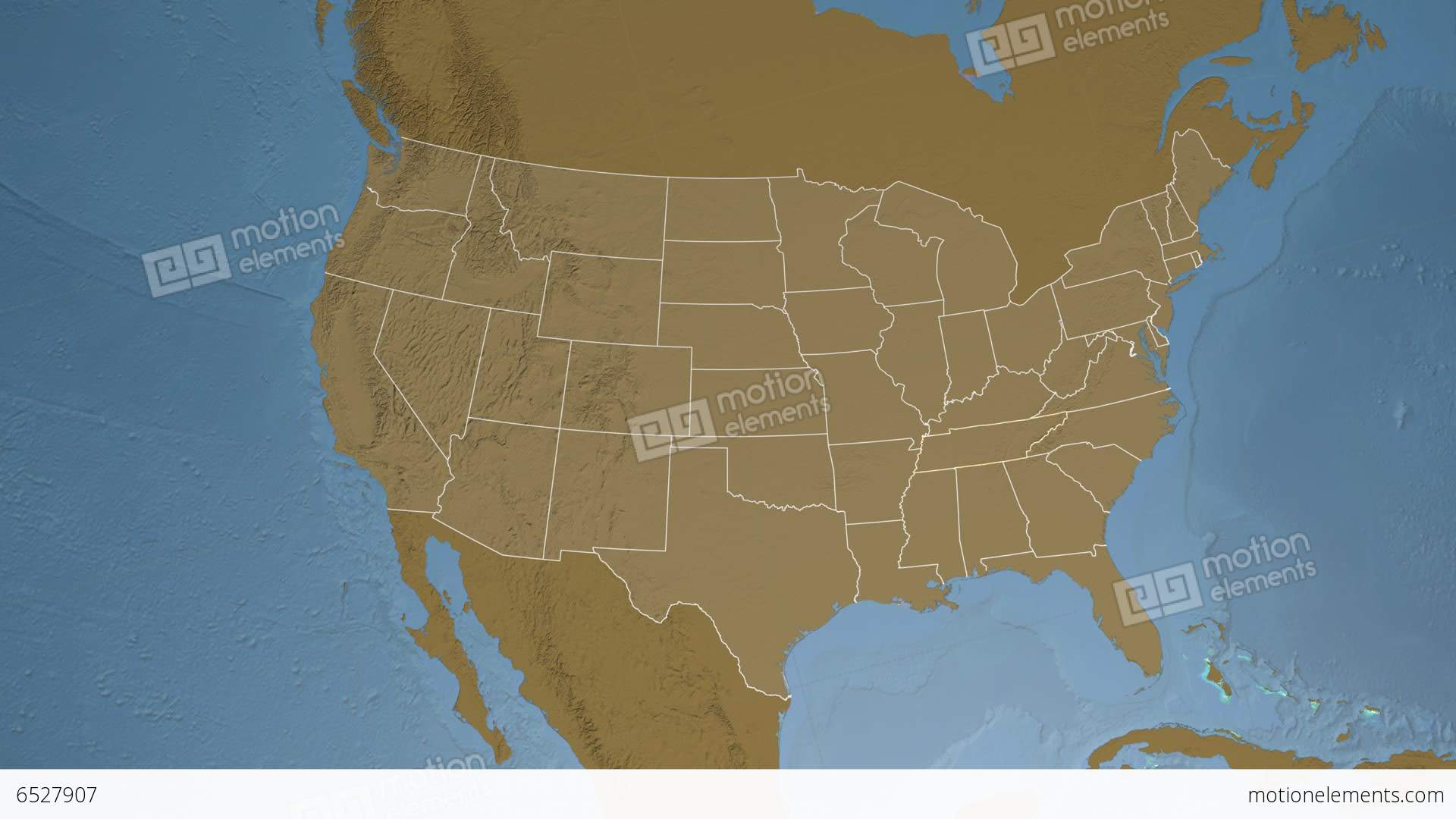 Tennessee State USA Extruded Elevation Map Stock Animation - Tennessee usa map