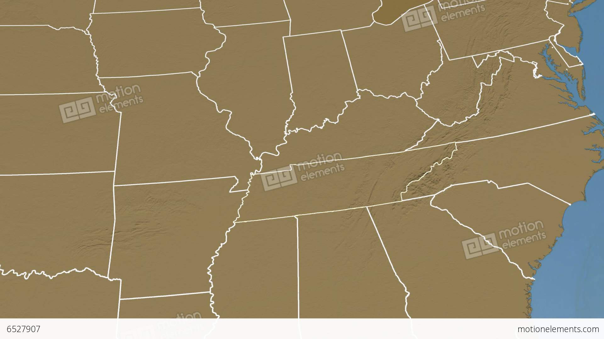 Tennessee State (USA) Extruded. Elevation Map Stock Animation | 6527907