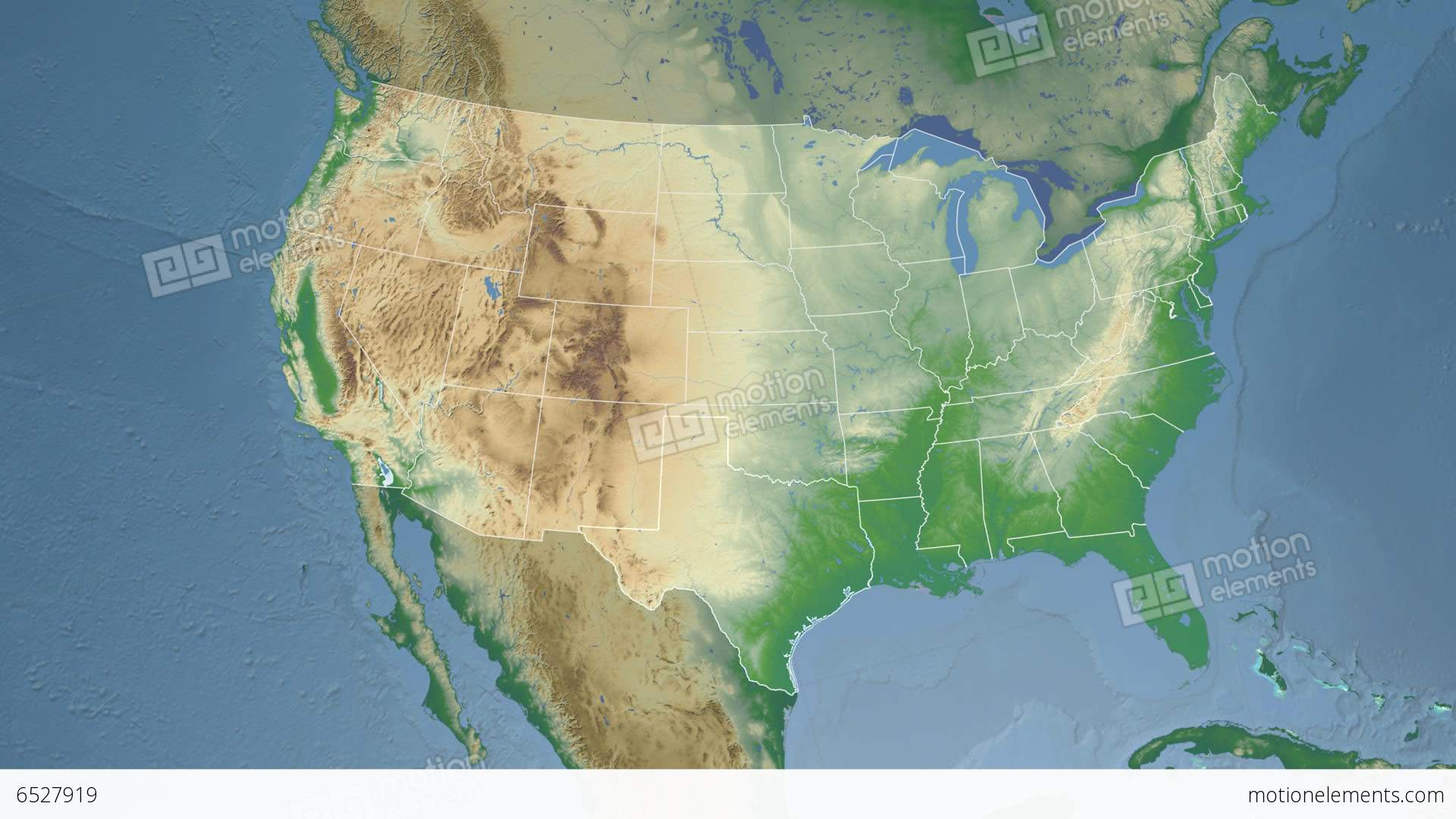 Physical Map Of Texas.Texas State Usa Extruded Physical Map Stock Animation 6527919