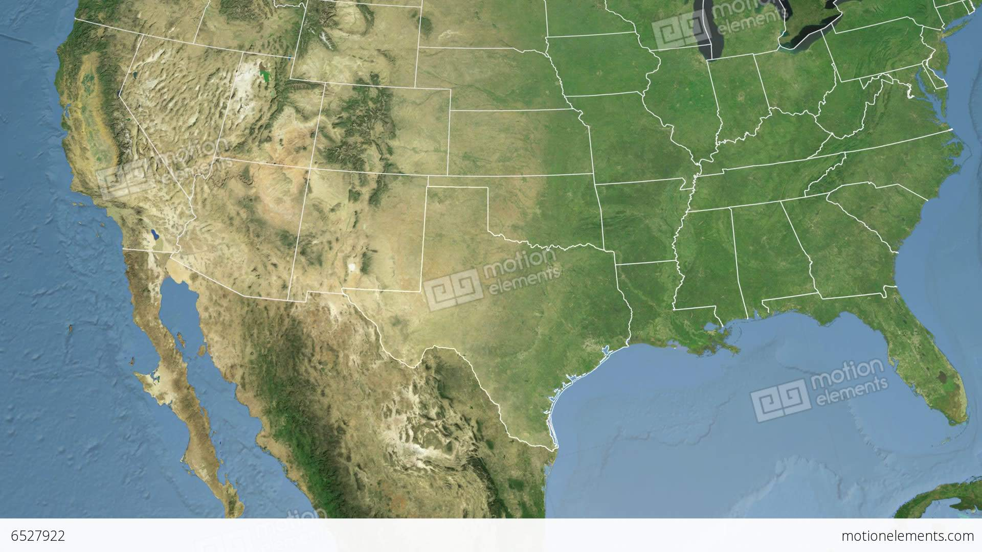 Texas State (USA) Extruded. Satellite Map Stock Animation | 6527922