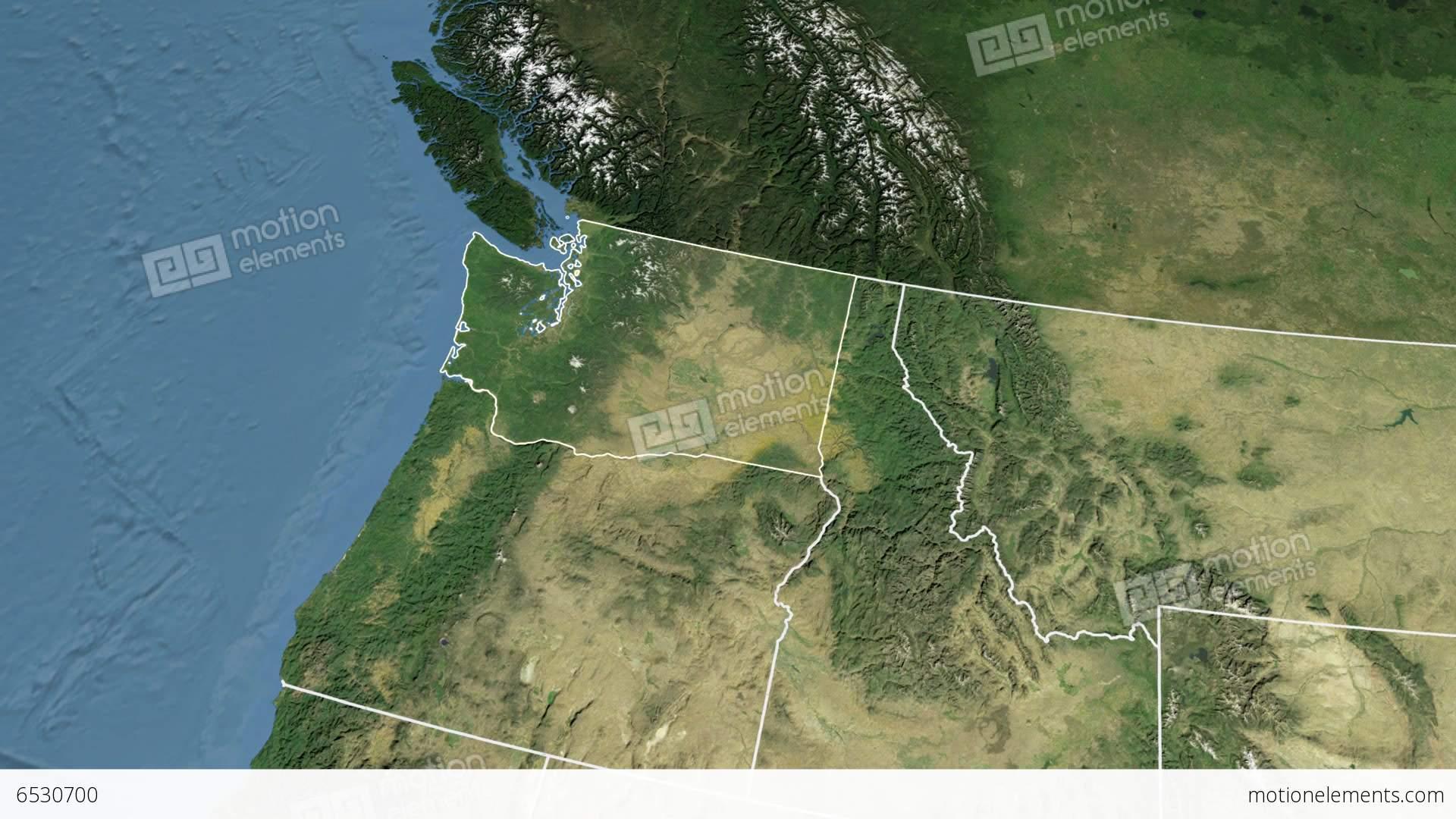 Washington State USA Extruded Satellite Map Stock Animation - Satellite map of usa