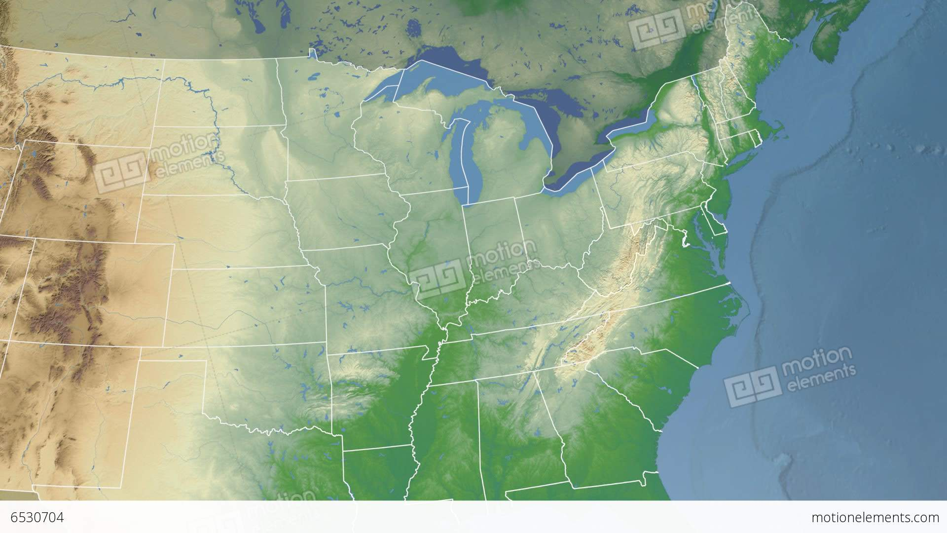 West Virginia State USA Extruded Physical Map Stock Animation - Usa map west virginia