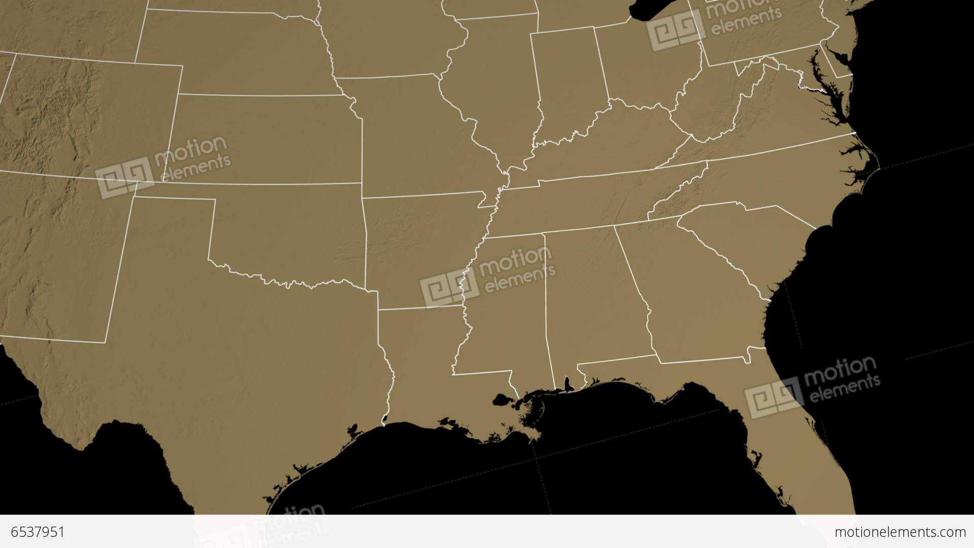 Alabama State Usa Extruded On The Elevation Map Stock Animation
