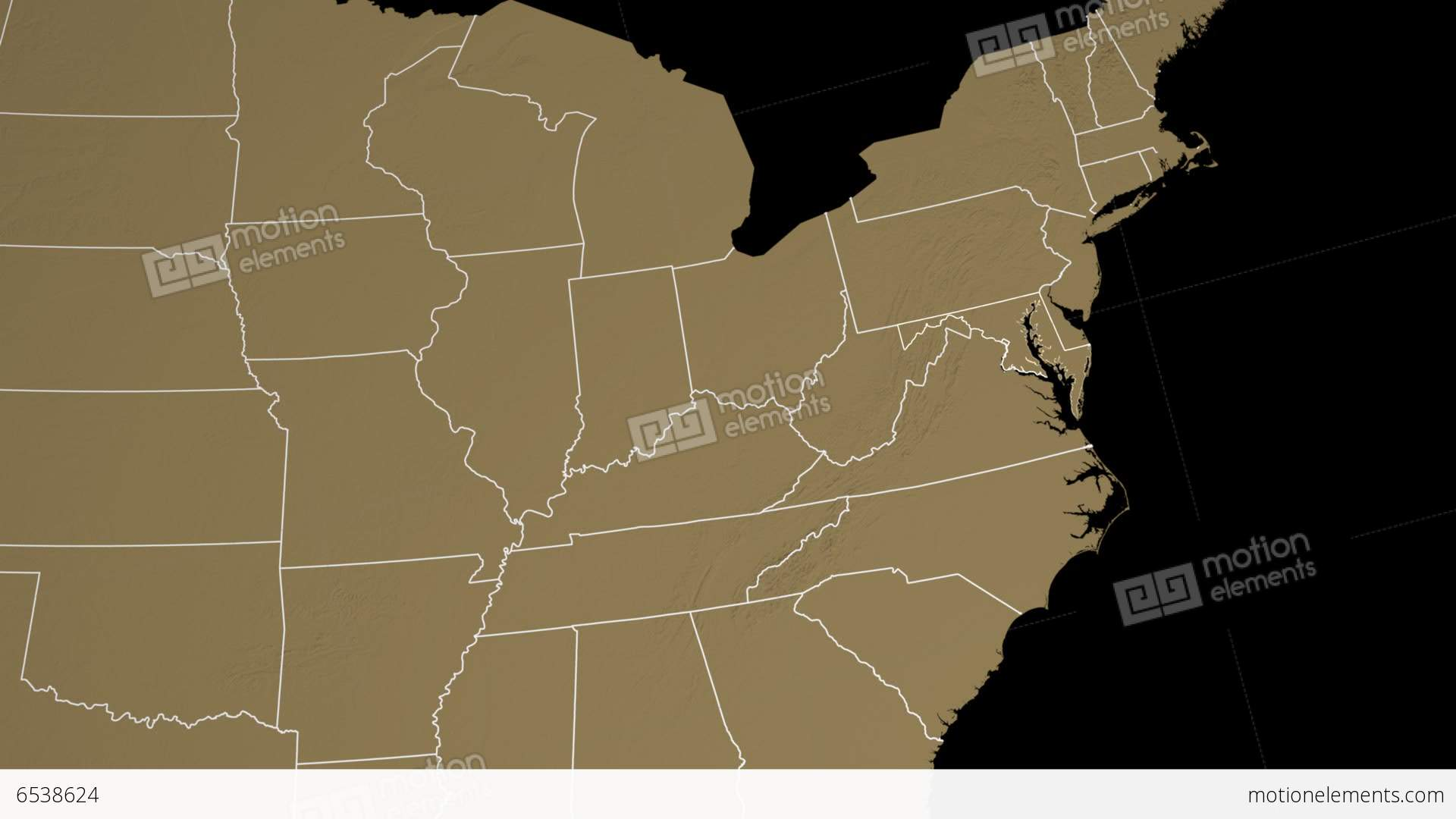 Maryland State Usa Extruded On The Elevation Map Stock Animation