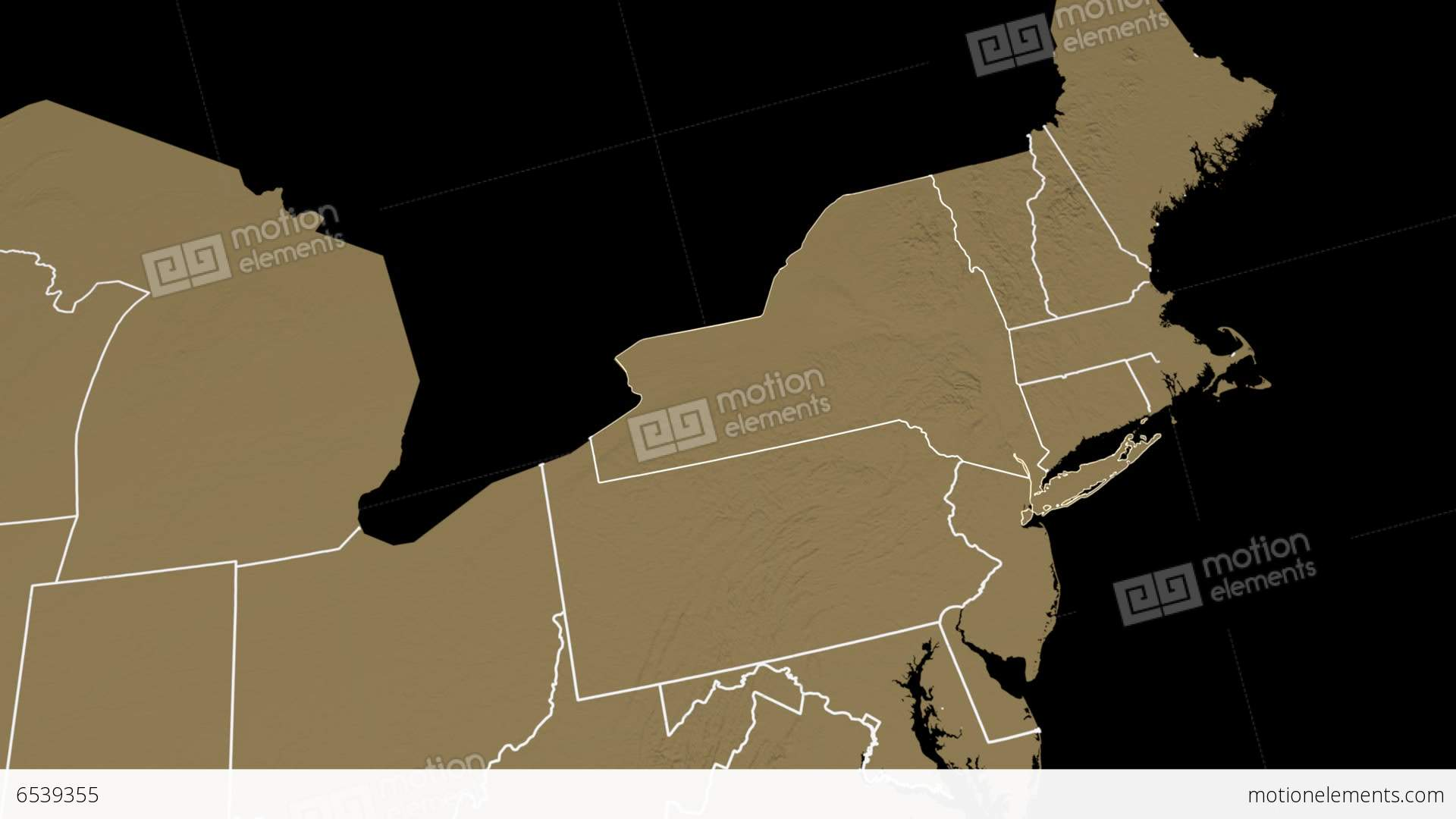 Nys Elevation Map.New York State Usa Extruded On The Elevation Map Stock Animation
