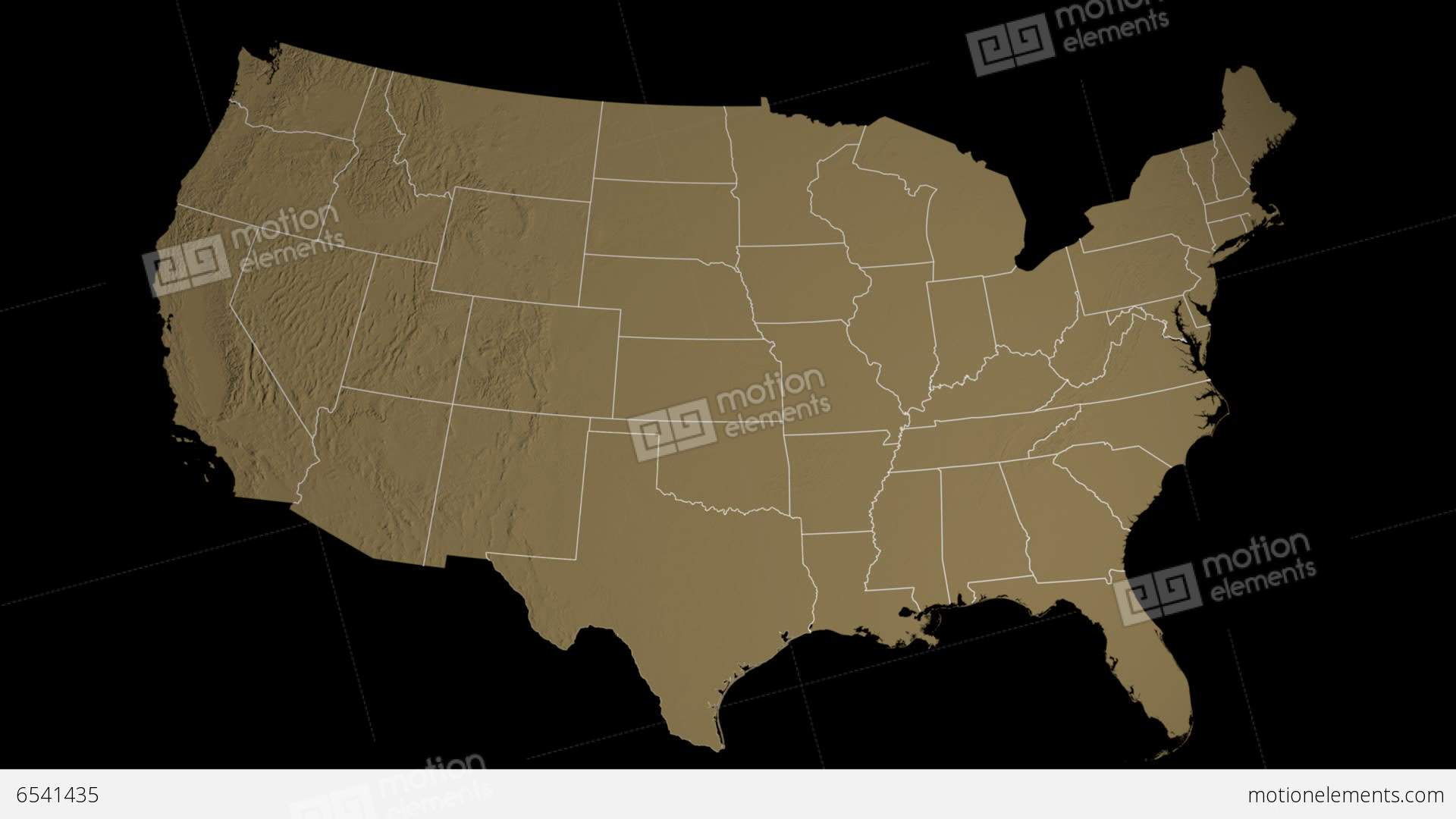 Texas State USA Extruded On The Elevation Map Of Stock Animation - Texas elevation map