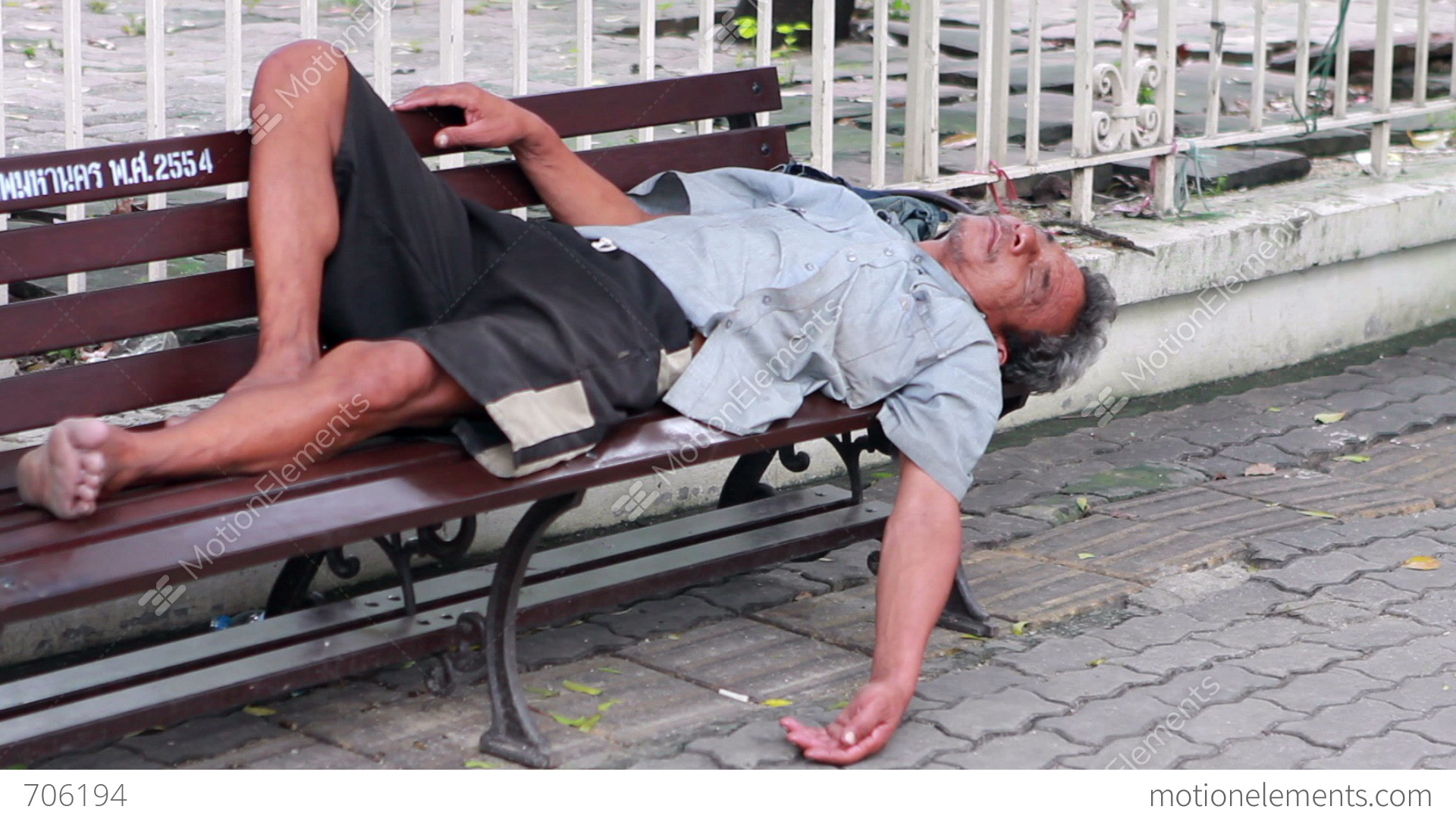 Video Bench Part - 38: Homeless Man Sleep On Bench Stock Video Footage