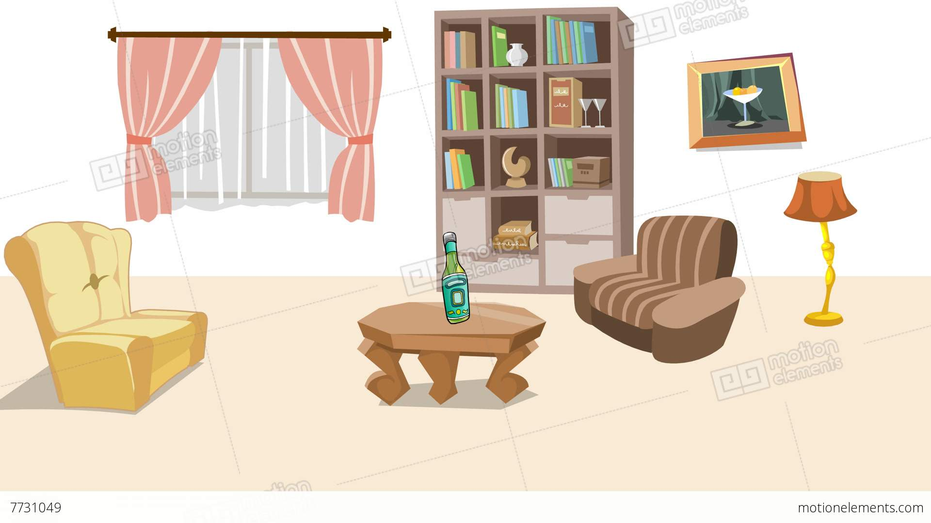 Earthquake In Cartoon Living Room Stock Animation