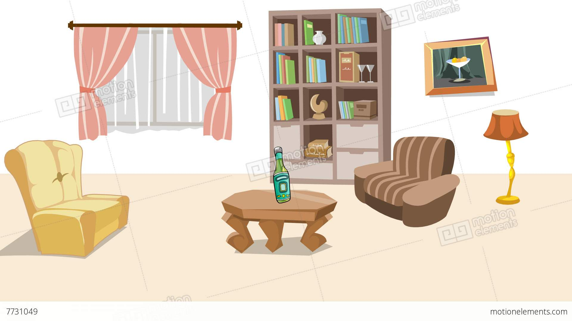 Earthquake In Cartoon Living Room Stock Animation 7731049