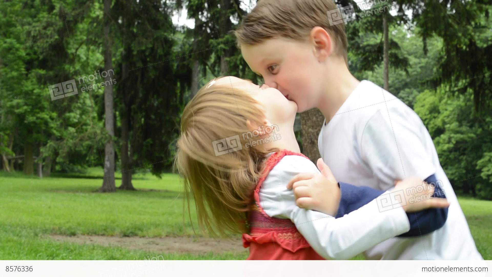 Children Siblings - Boy And Girl Give A Kiss In Park -6795