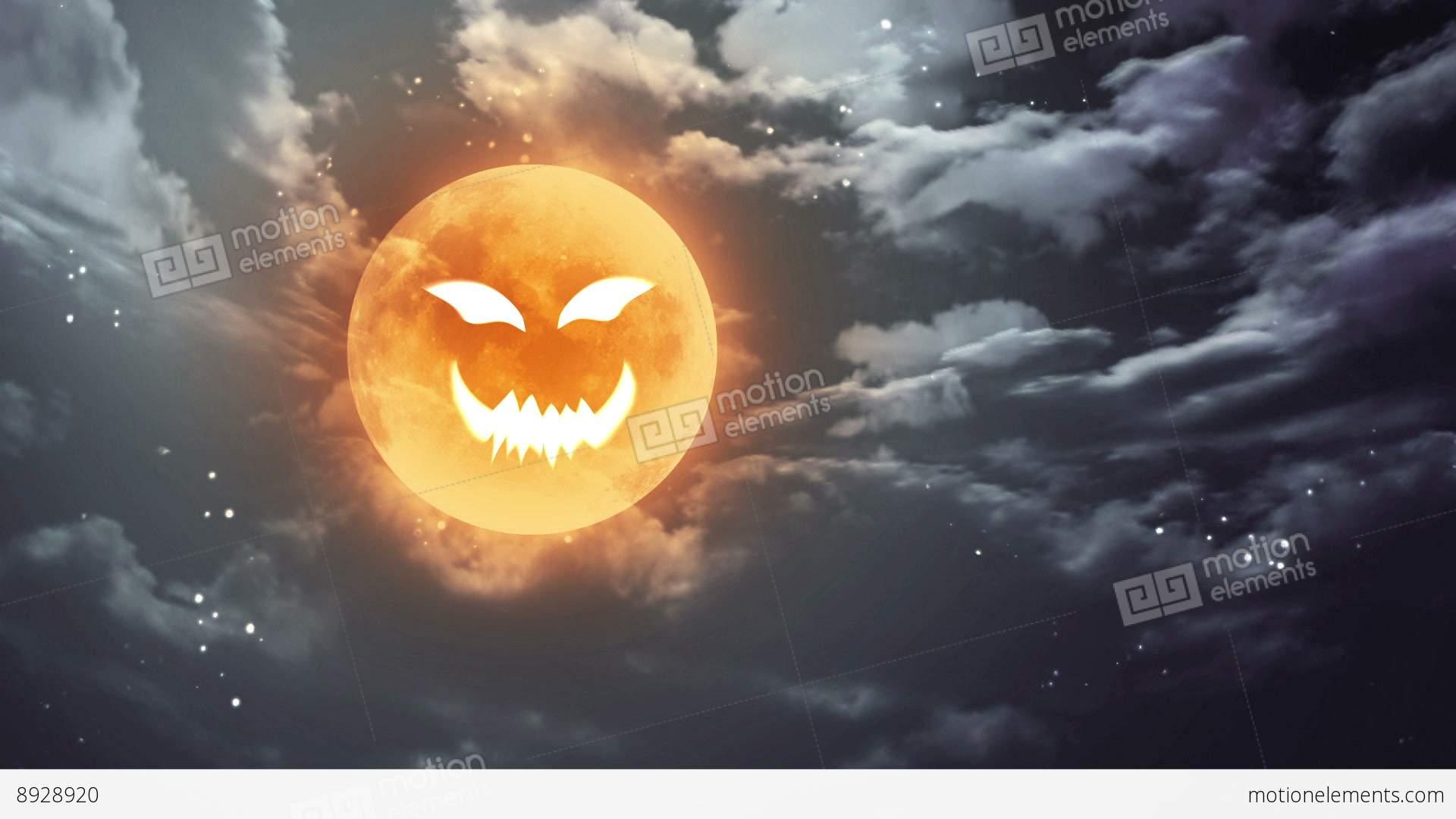 Pumpkin Face Halloween Moon And Dark Sky Stock Animation | 8928920