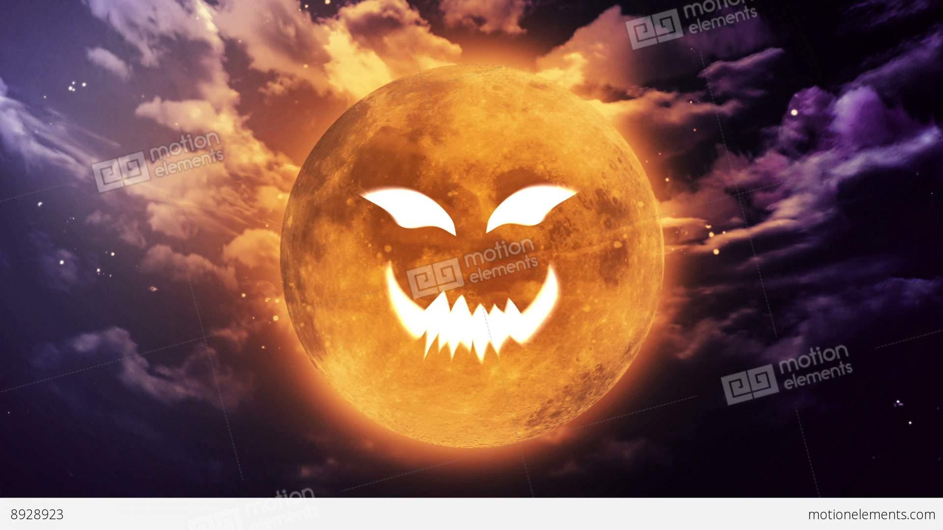 Pumpkin Face Large Halloween Moon Stock Animation | 8928923