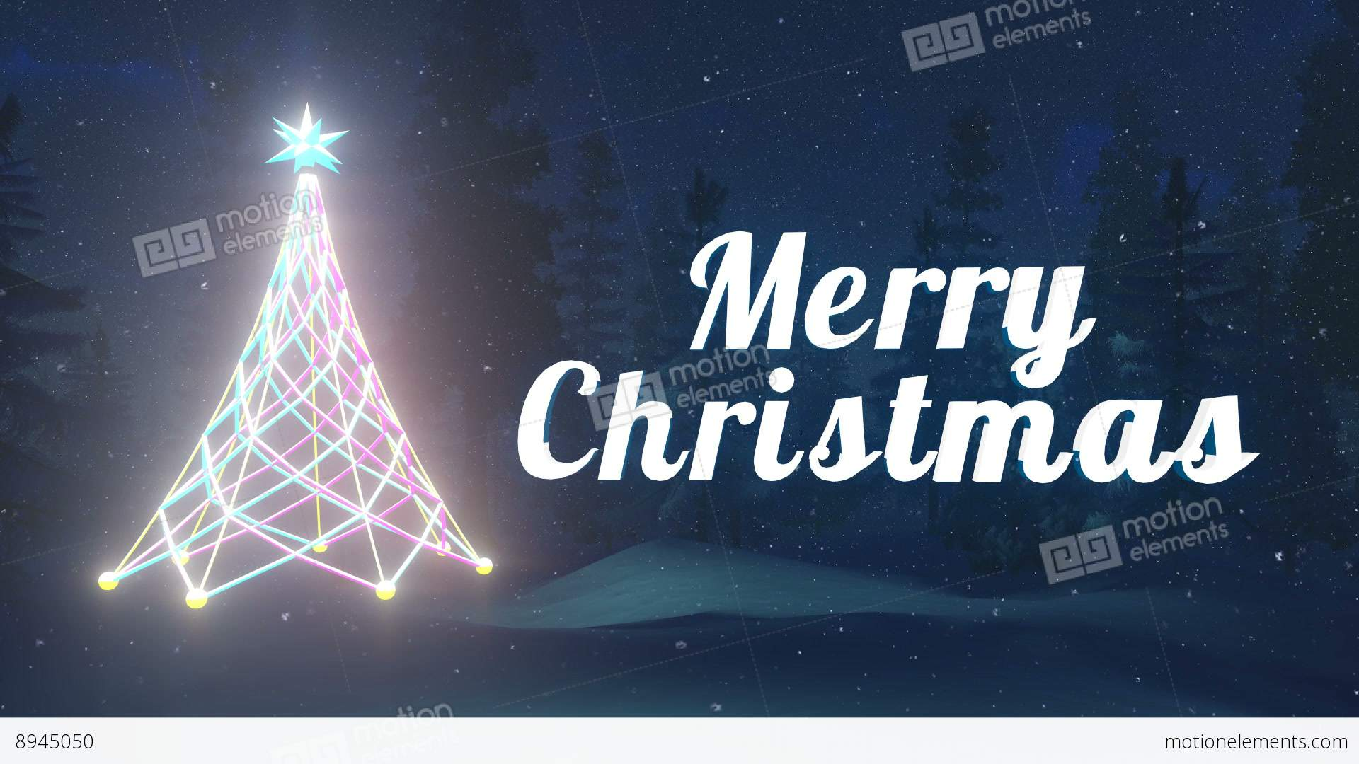 merry christmas animation at snowfall night stock video footage - Merry Christmas Animated Graphics