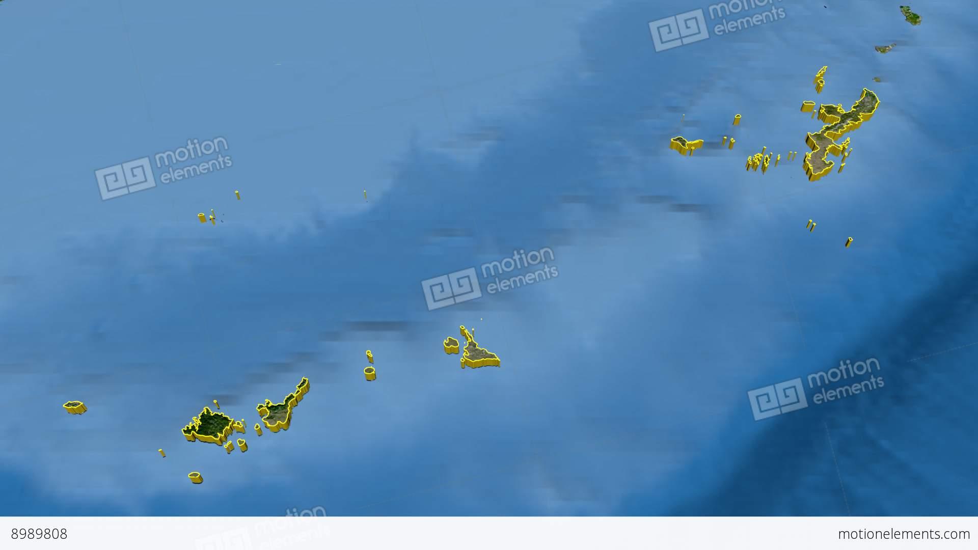 Okinawa Japan Prefecture Extruded Satellite Stock Animation - Japan map satellite