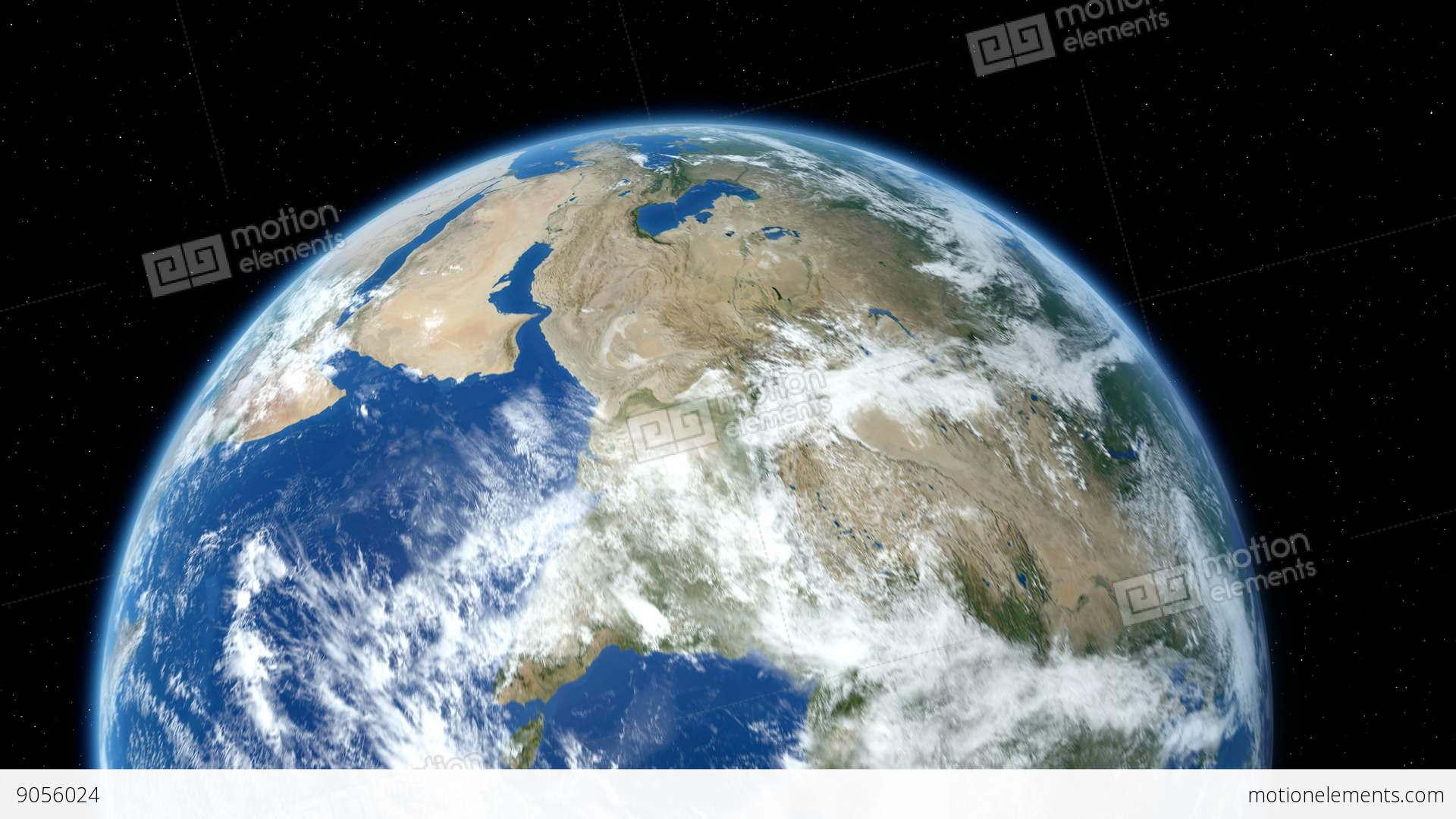 Earth Zoom To Europe Through The Layer Of Clouds Down To ...
