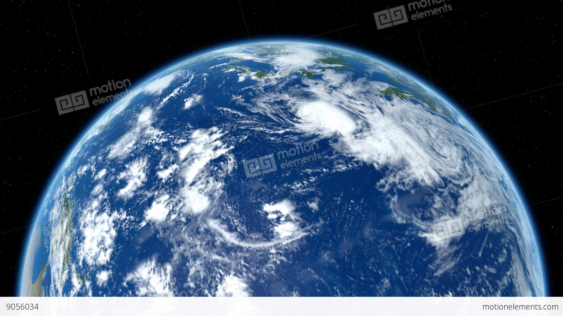 Earth Zoom To Asia Through The Layer Of Clouds Down To ...