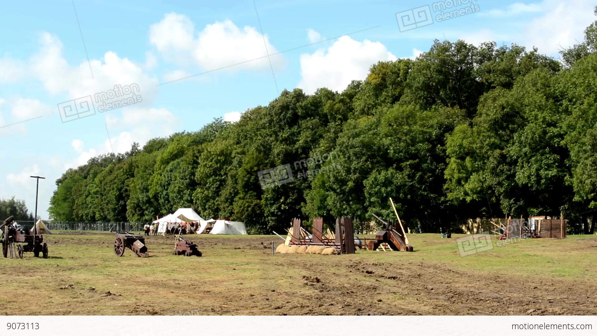 ancient battlefield - cannons - tents in the background -... Stock Video Footage & Ancient Battlefield - Cannons - Tents In The Background - Forest ...