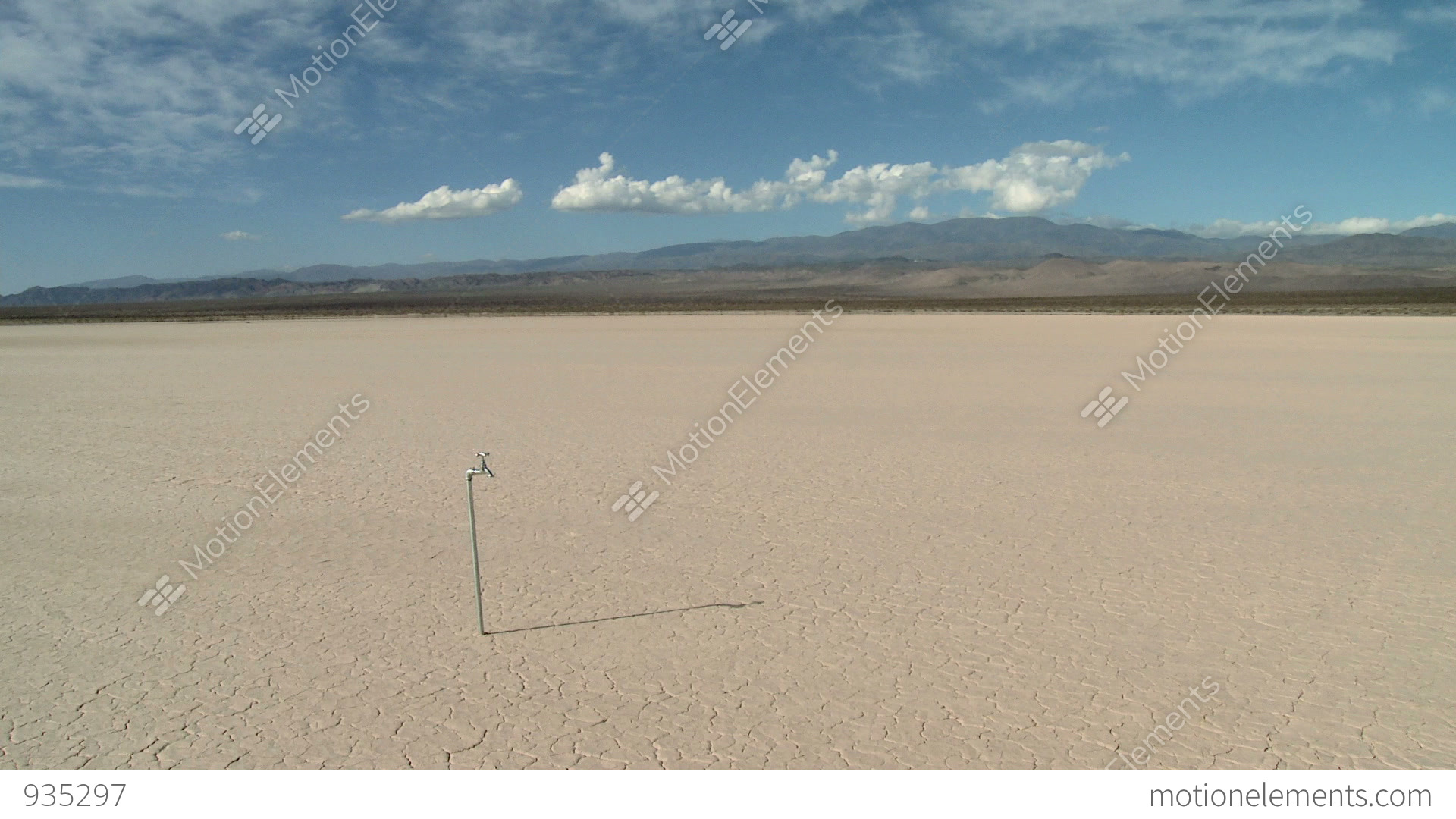 Man Using Faucet In Desert Landscape And Finding There Is No Water ...