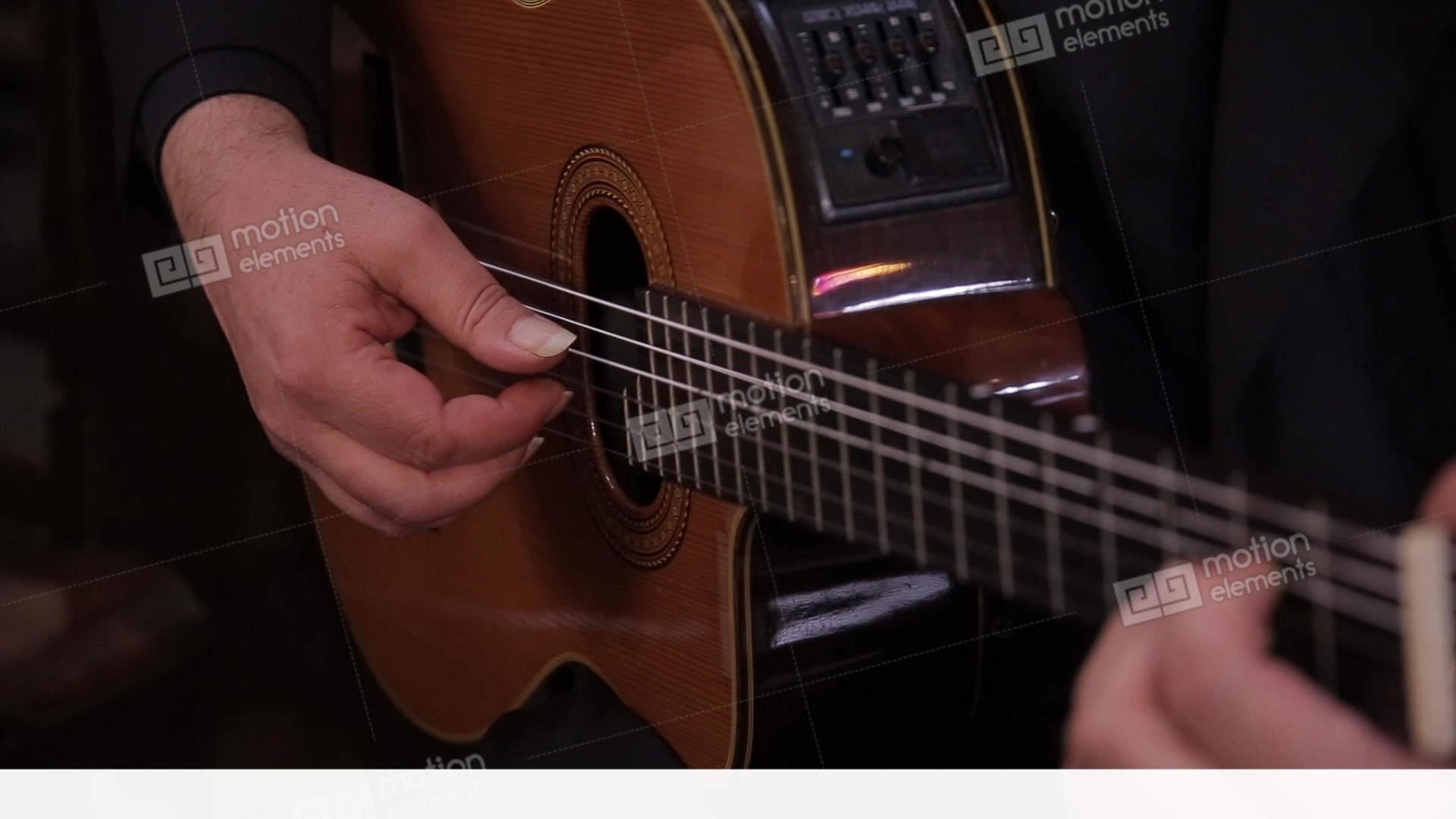man hand guitar strings strummed stock video footage 10935871. Black Bedroom Furniture Sets. Home Design Ideas