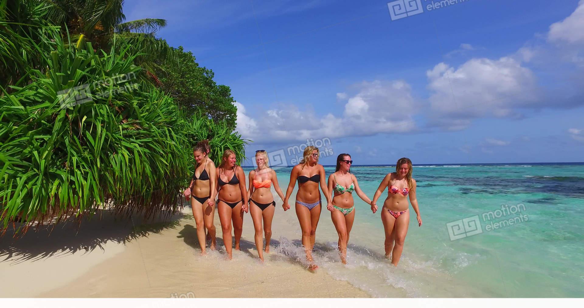 Group young teens in bikinis model