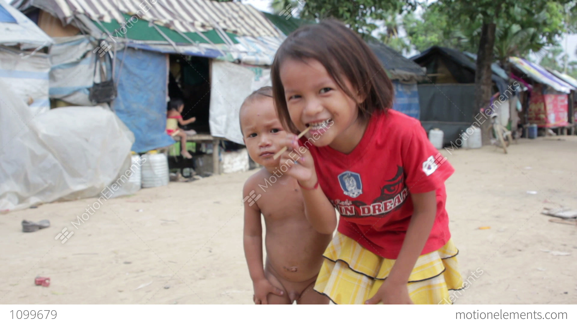 Naked cambodian kids Kids in cambodian slums Stock Video Footage