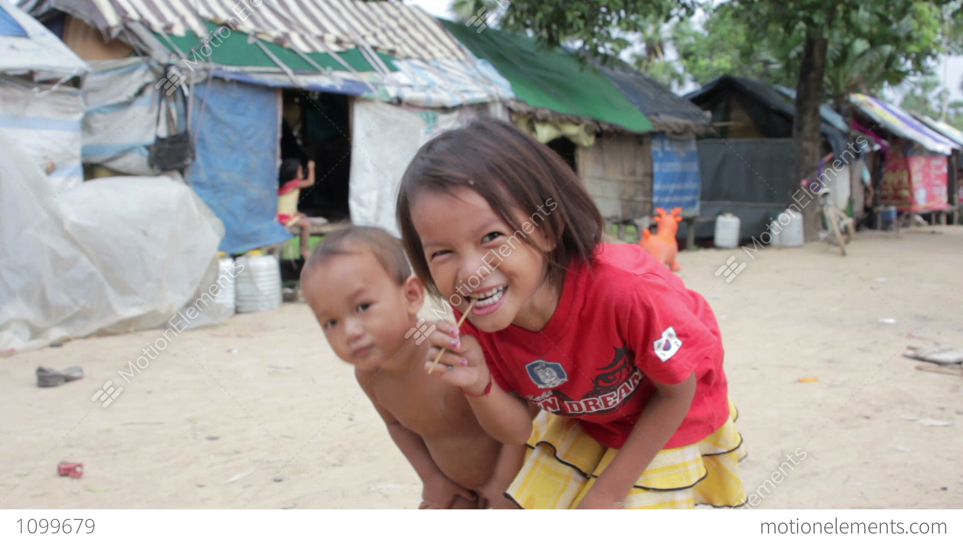 Kids In Cambodian Slums Stock video footage   1099680
