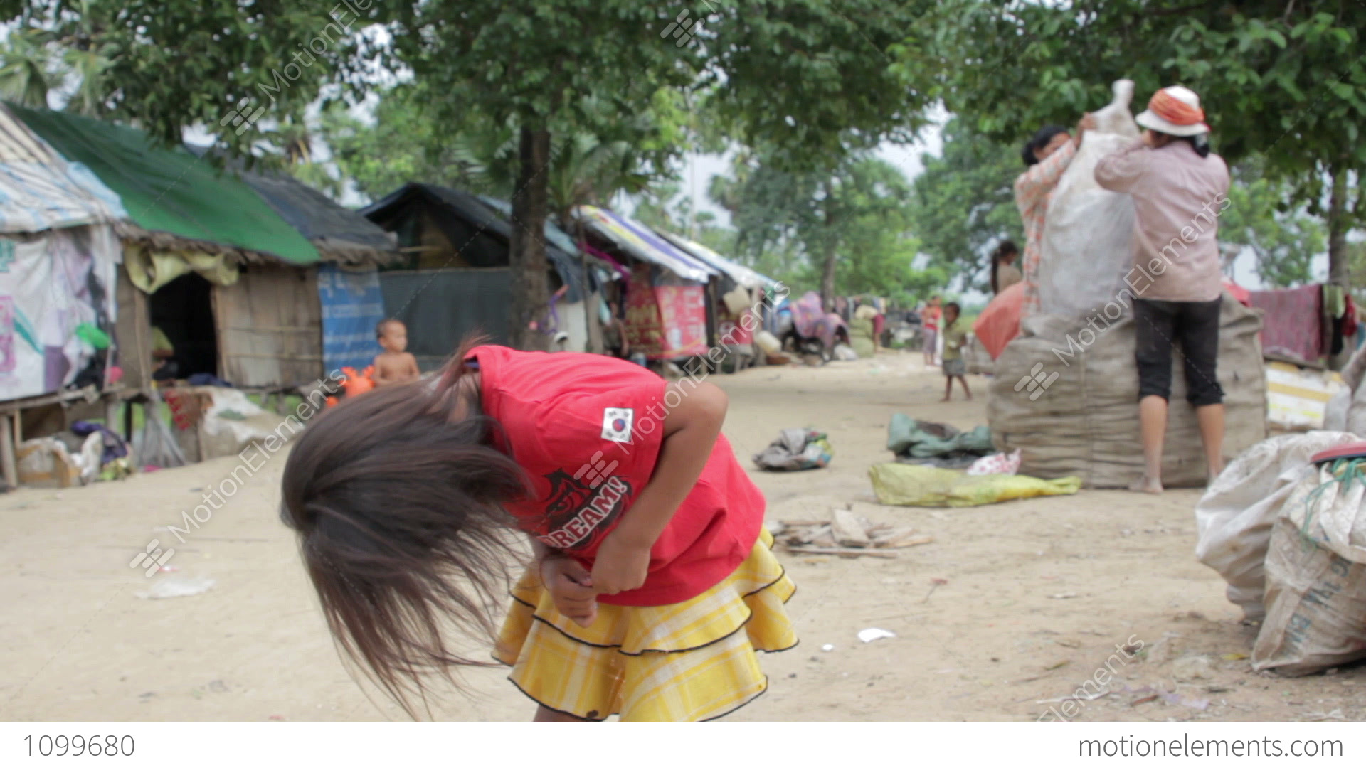 Kids In Cambodian Slums Stock video footage   1099686