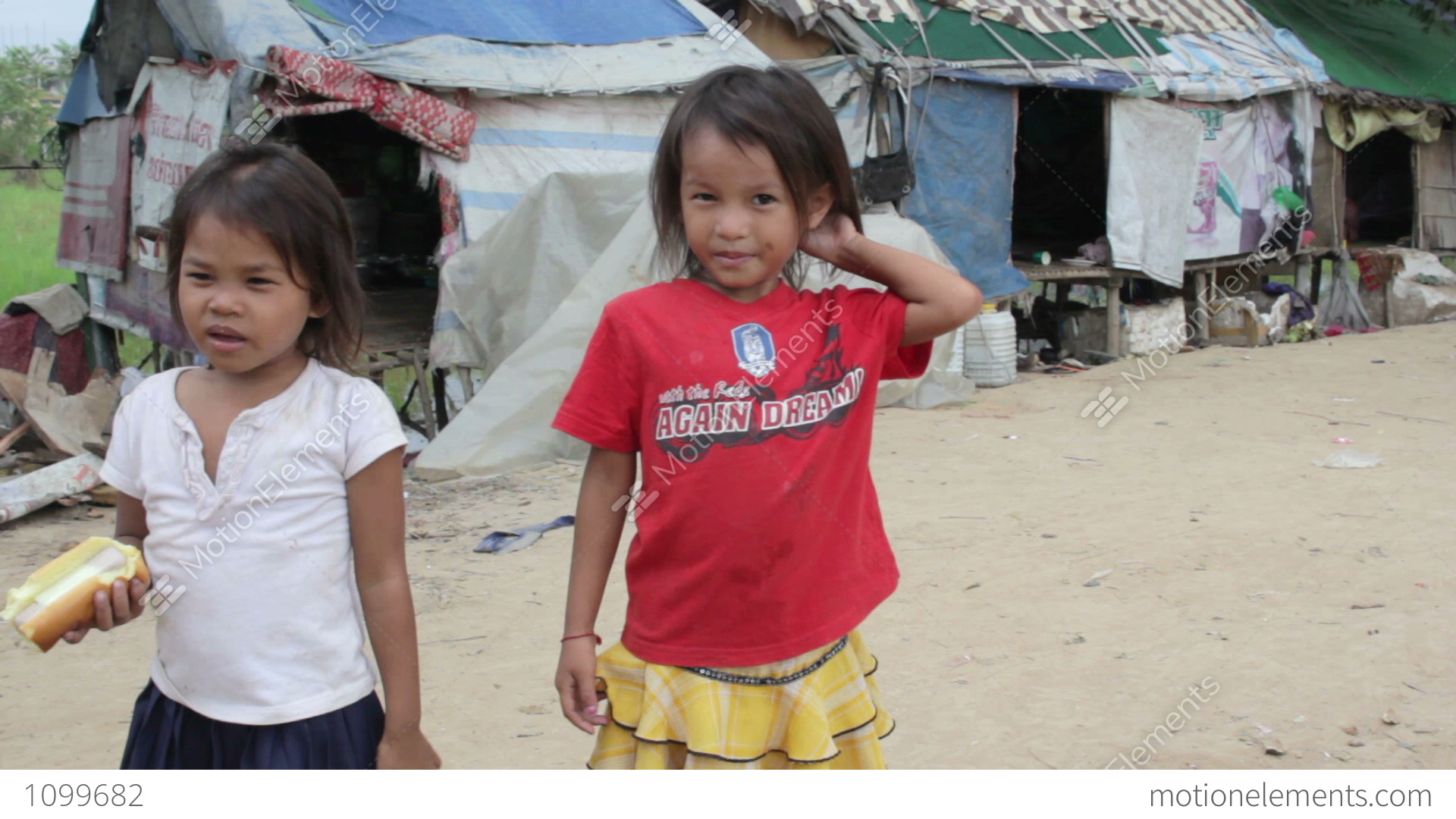Kids In Cambodian Slums Stock video footage   1099682