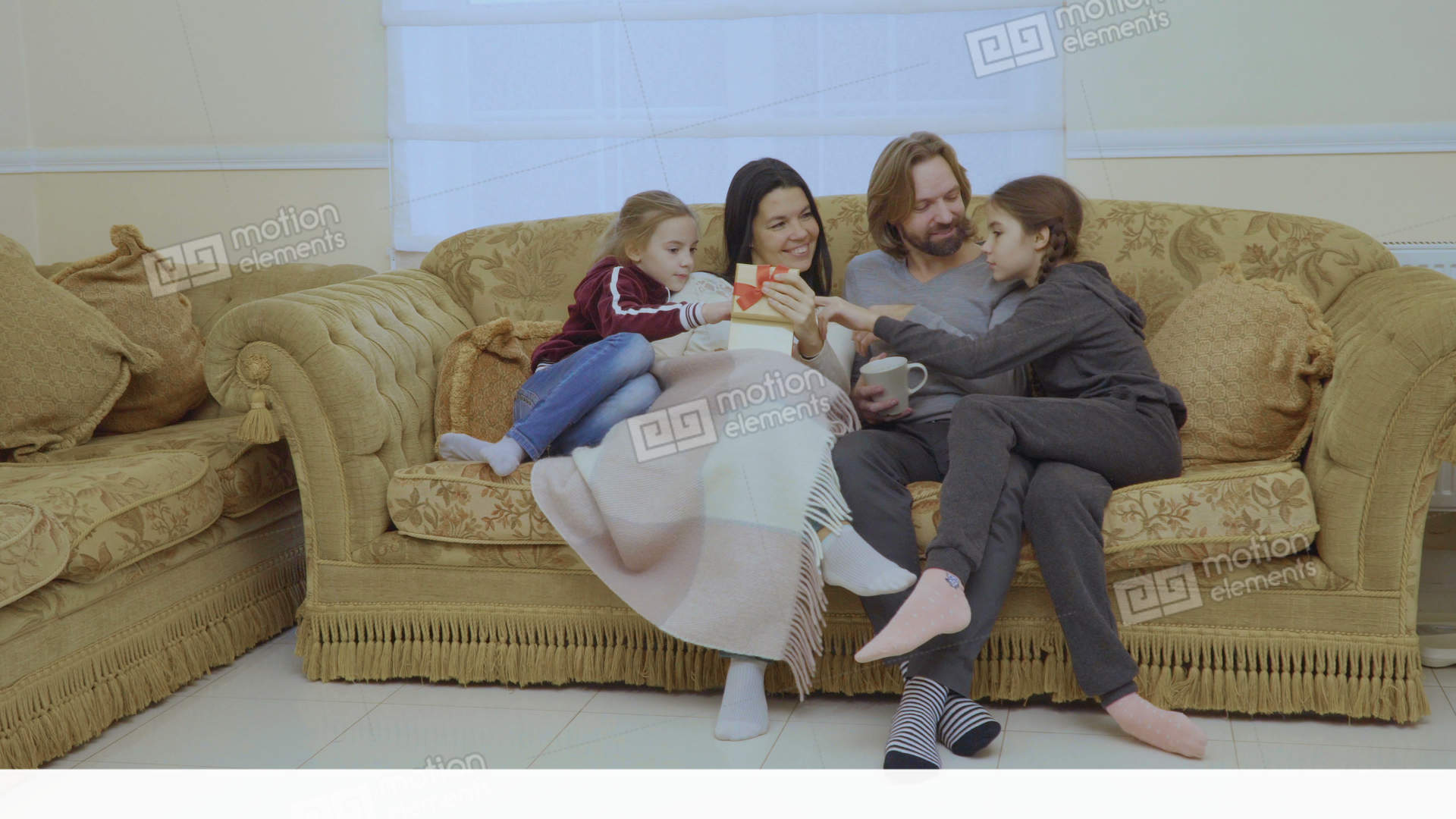 Hy Family With Christmas Gift At The Sofa Home Stock Video Footage