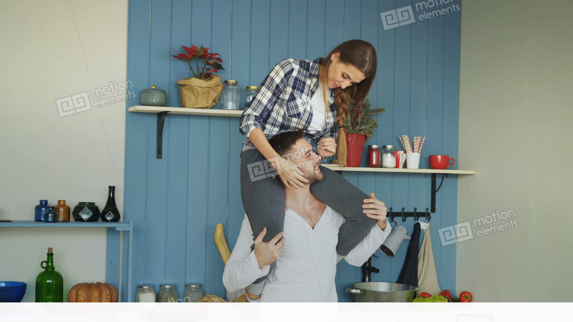 Happy Young Couple Having Fun In Kitchen At Home. Girl Is Sitting On ...
