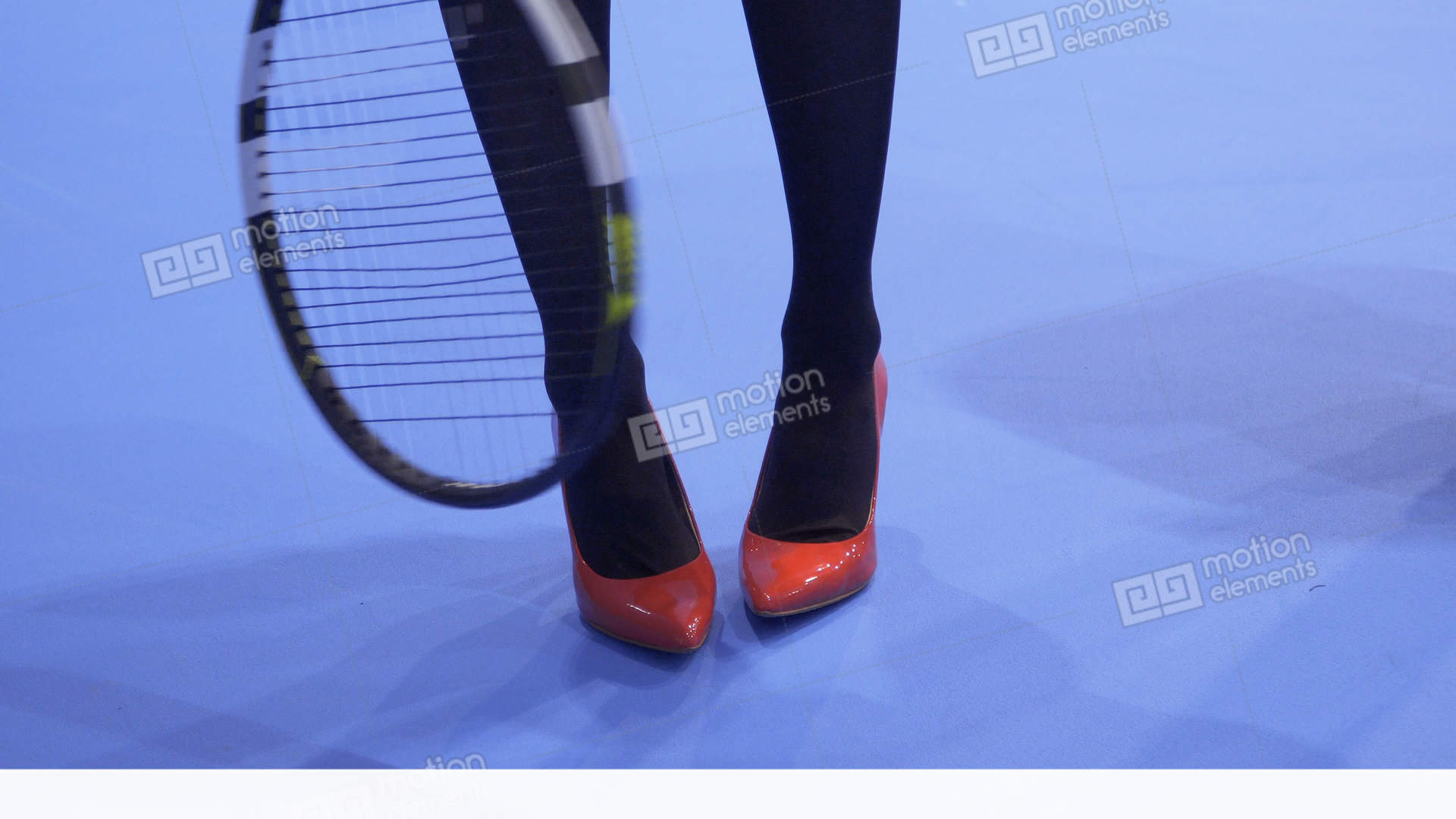 433520d1bb48 Woman in red shoes on high heels with tennis racquet Stock Video Footage