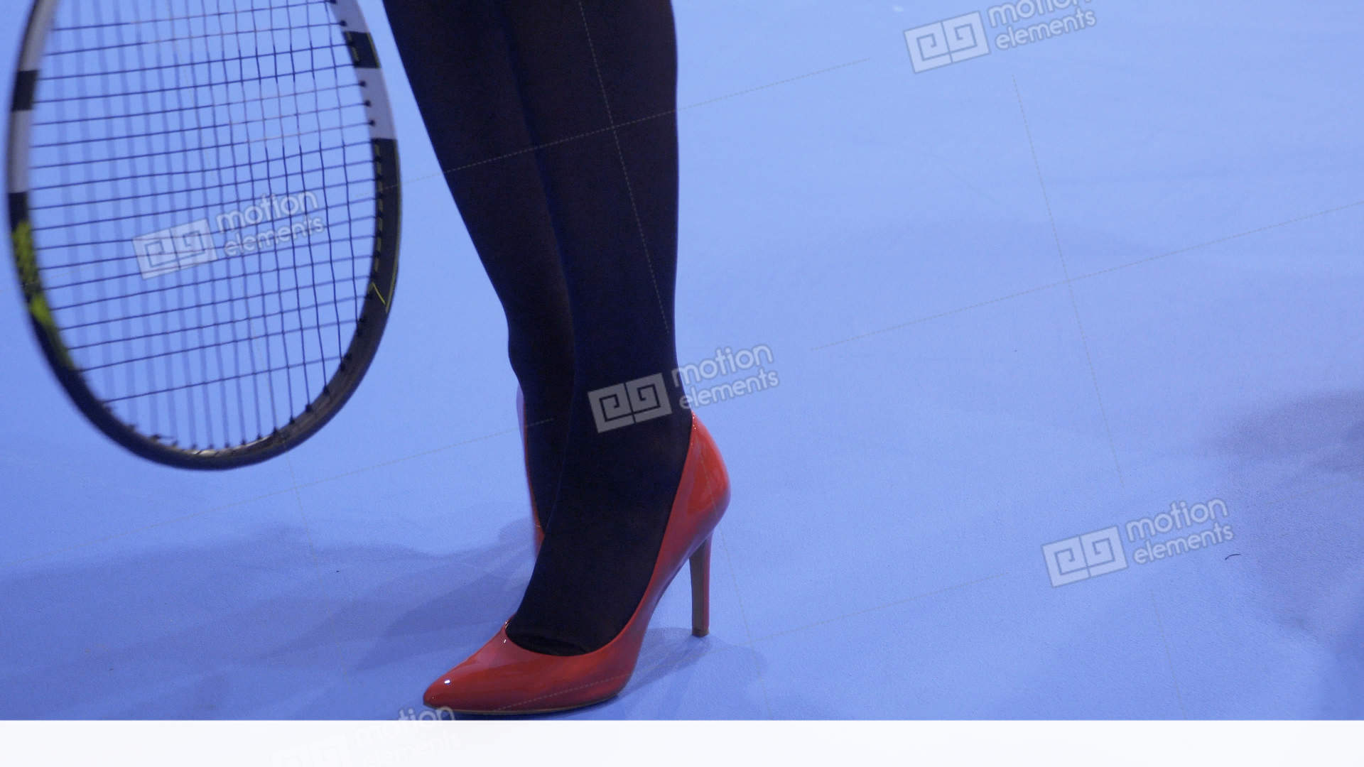 df039b3094a1 Woman in red shoes on high heels with tennis racquet Stock Video Footage.  People Sports